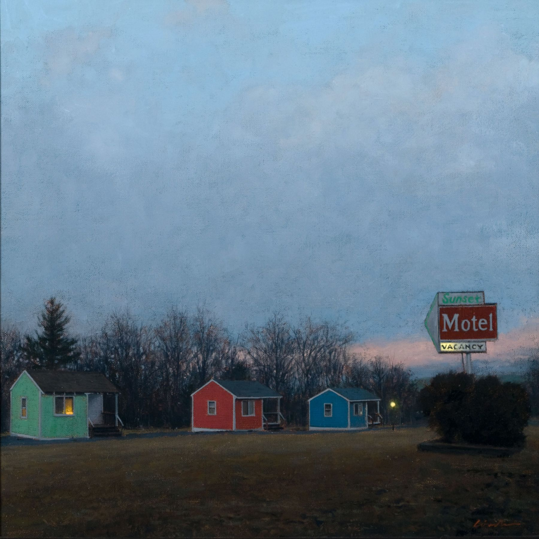 Linden Frederick, Sunset Motel (SOLD), 2007, oil on panel, 12 1/4 x 12 1/4 inches