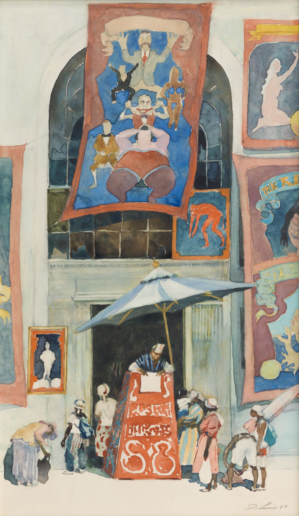 david levine, House of Freaks, 1997 watercolor on paper 18 1/2 x 20 inches, Private collection, Greenwich, CT