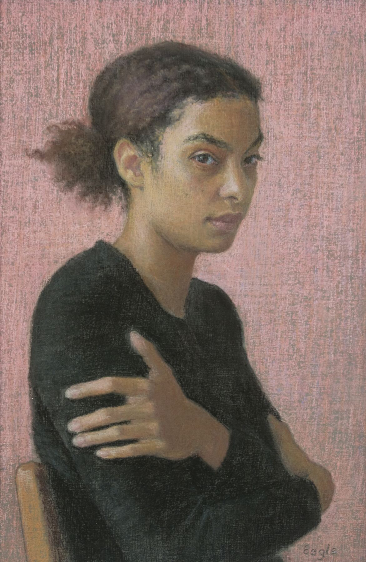 Ellen Eagle, Pigeon Glancing, 2011, pastel on pumice board, 9 11/16 x 6 3/8 inches