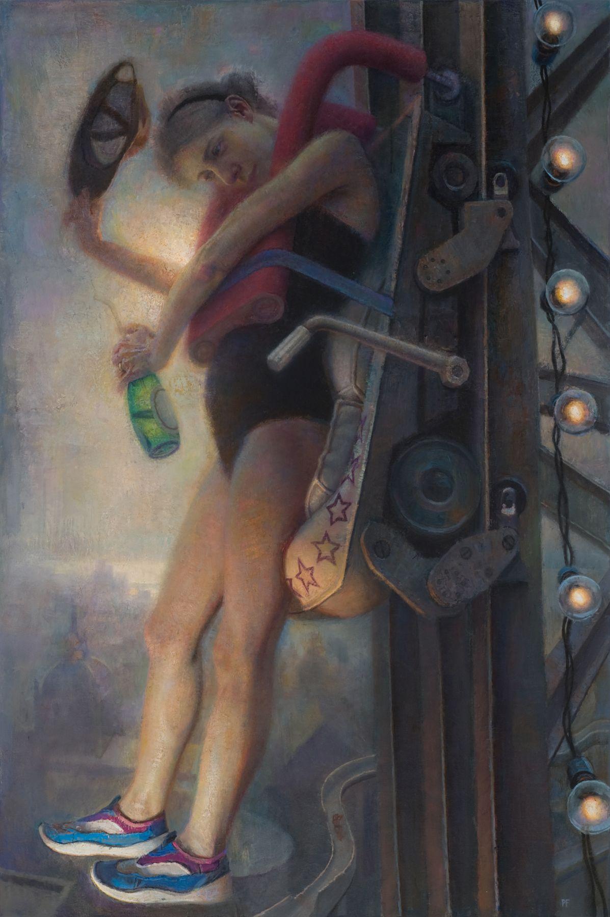 paul fenniak, Theme Park Patron (SOLD), 2014, oil on canvas, 54 x 36 inches