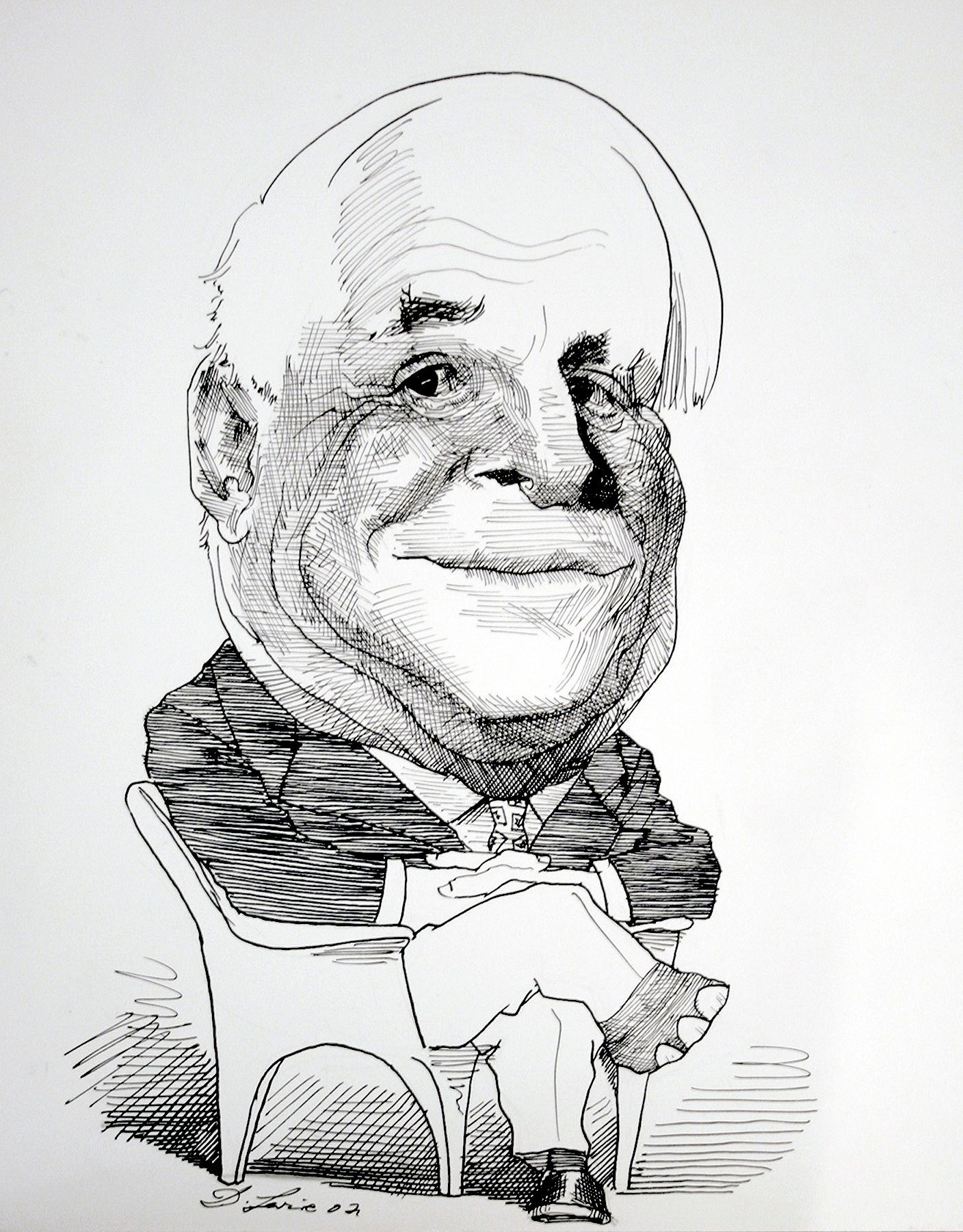 David Levine, Senator John McCain, 2002, ink on paper, 13 3/4 x 11 inches