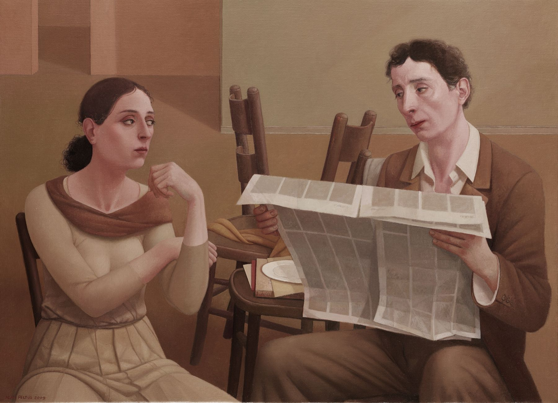 alan feltus, ll Giornale, 2009, oil on canvas, 31 1/2 x 43 1/4 inches
