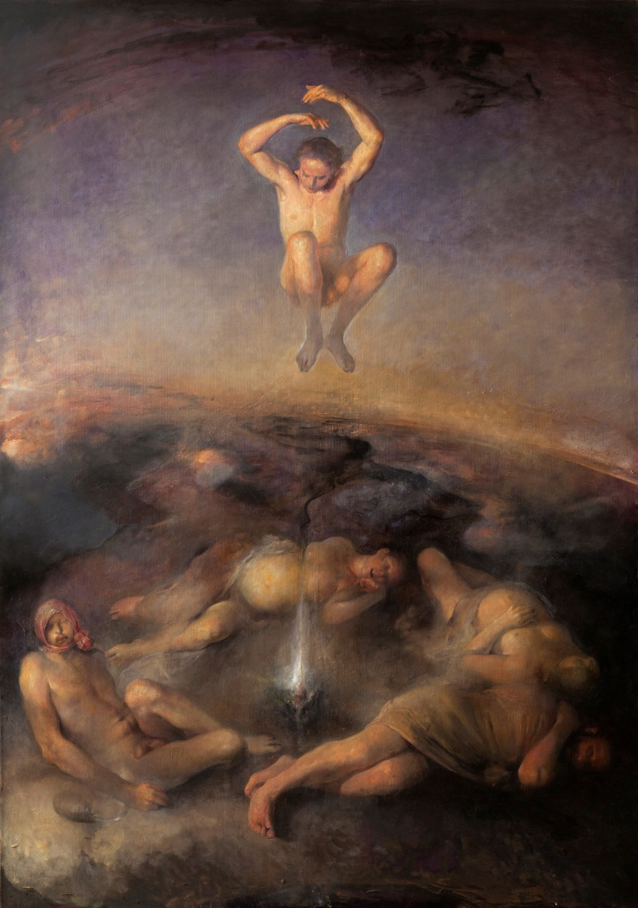 odd nerdrum, Nightjumper, oil on canvas, 81 1/2 x 114 1/2 inches