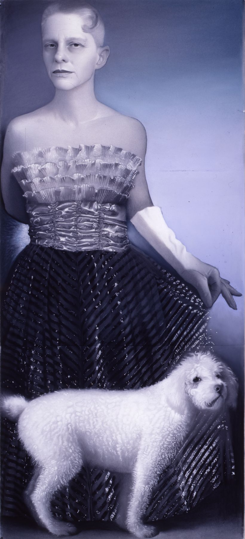susan hauptman, Self Portrait with Dog, 2001, charcoal, pastel and hair on paper, 94 x 40 1/2 inches