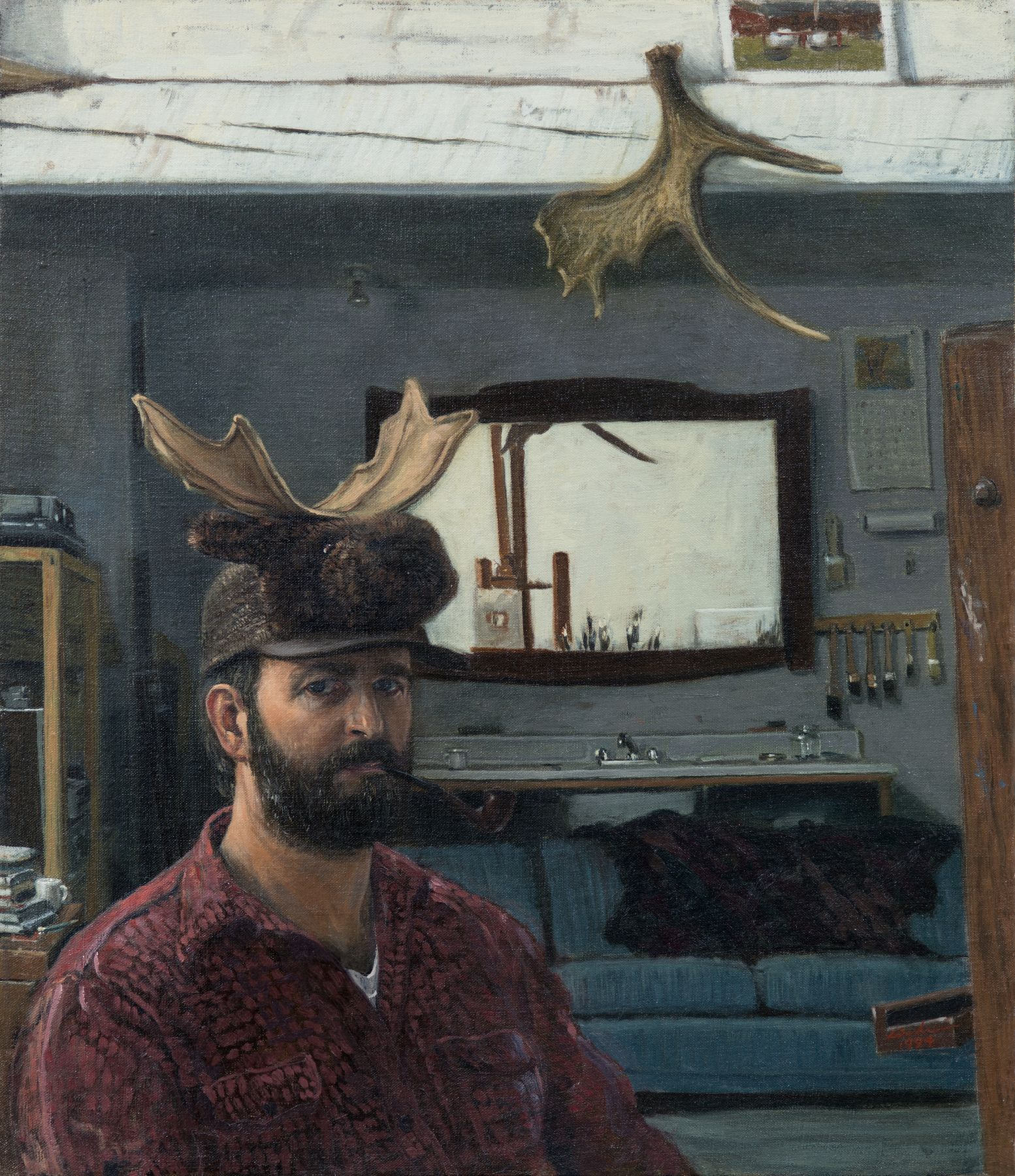 Linden Frederick, Self Portrait with Moose Hat, 1994, oil on linen, 13 x 15 inches