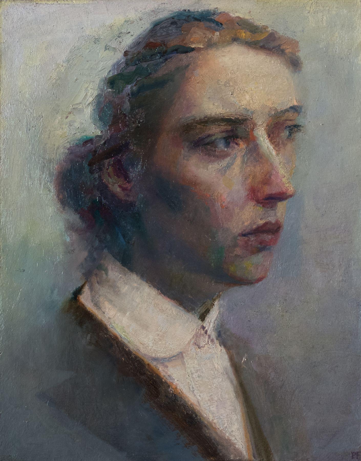 paul fenniak, Portrait of Michèle, 2018, oil on wood, 14 x 11 inches
