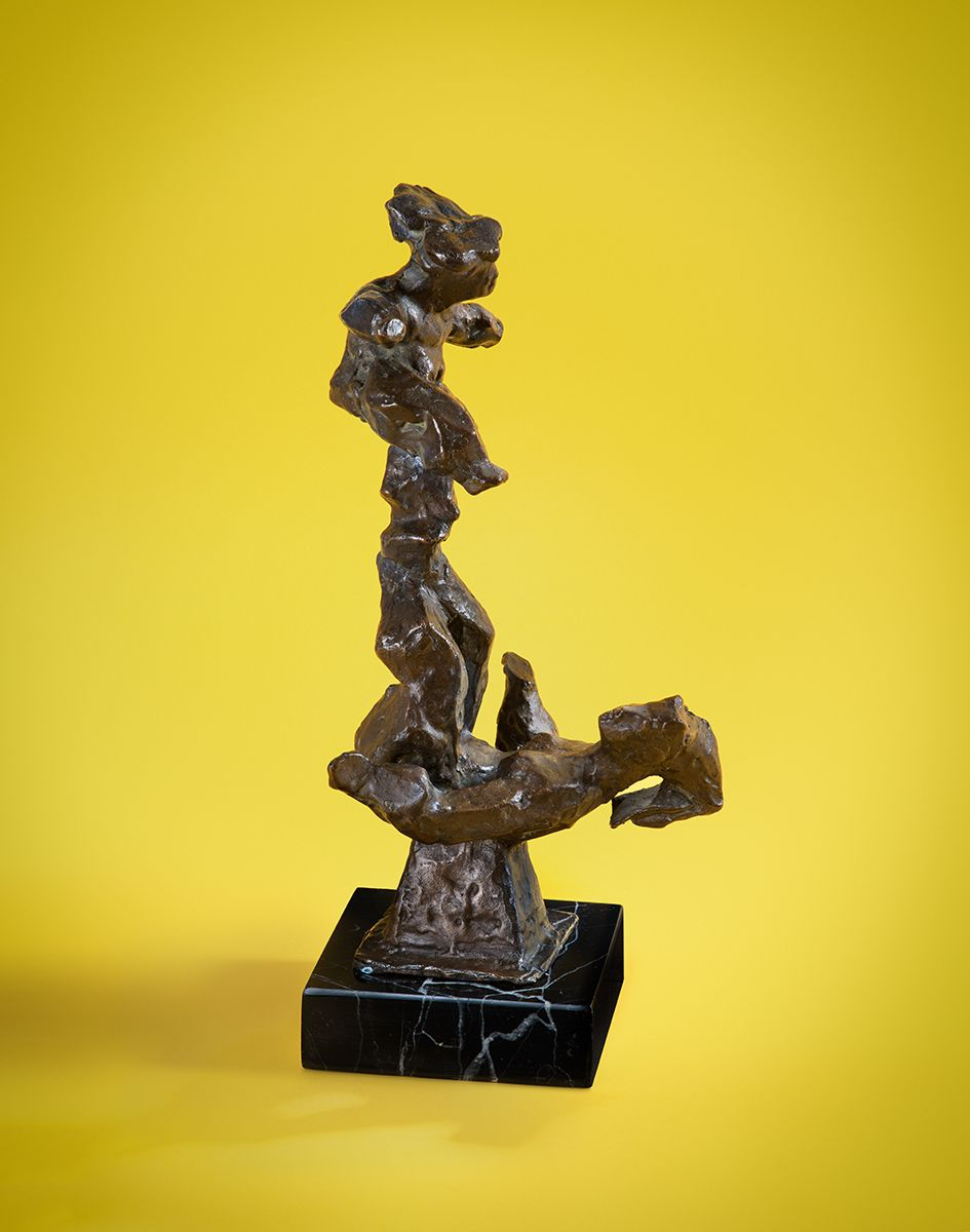 Chaim Gross, Acrobats (Balancing), nd, bronze, 13 x 6 1/2 inches