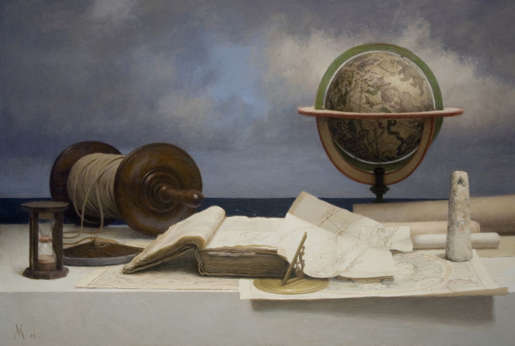 guillermo munoz vera, Navigators, 2010, oil on canvas on panel, 29 1/8 x 43 inches