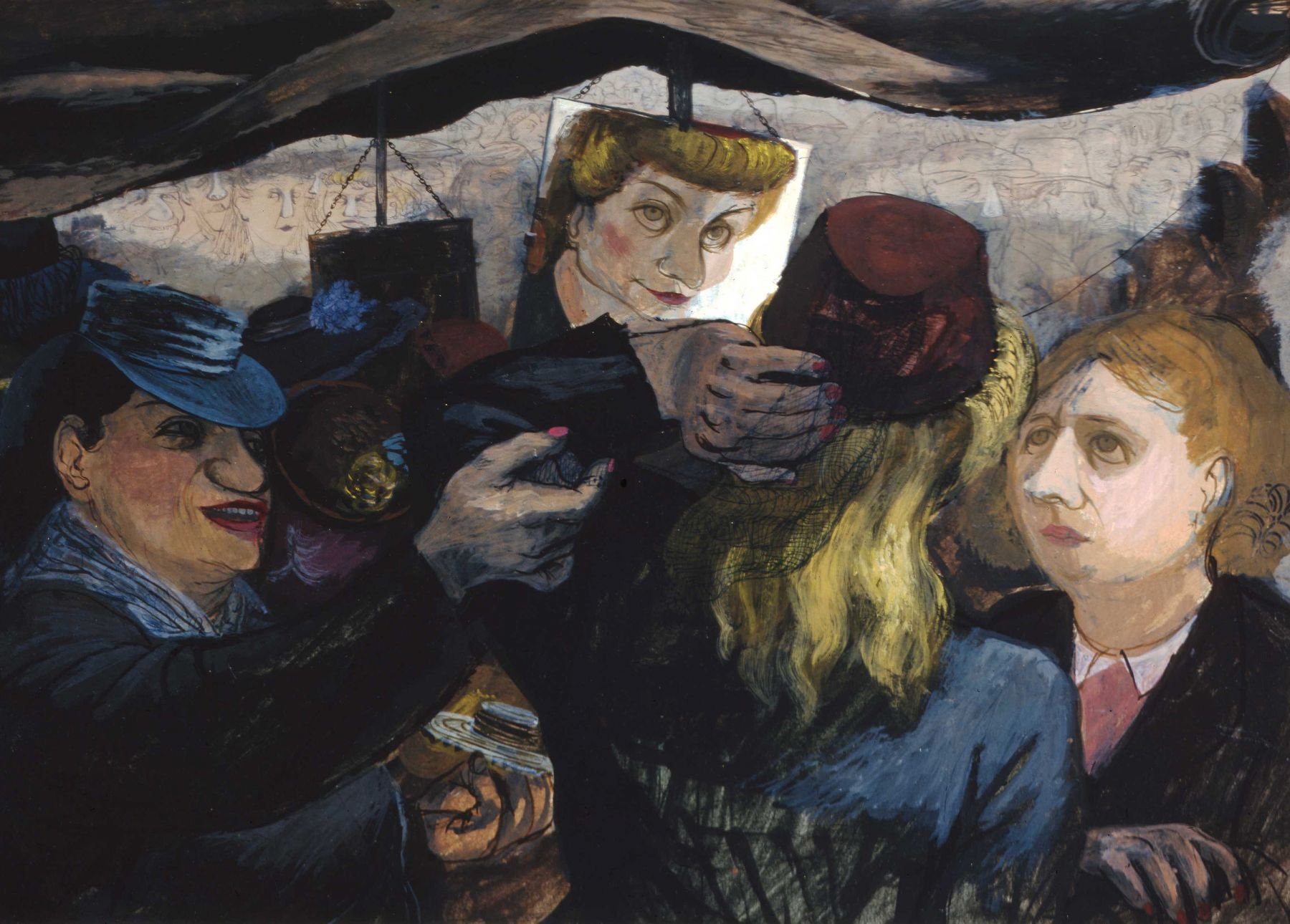 Henry Koerner, Hat Shoppers, 1945, oil on paper, 11 1/2 x 16 1/2 inches