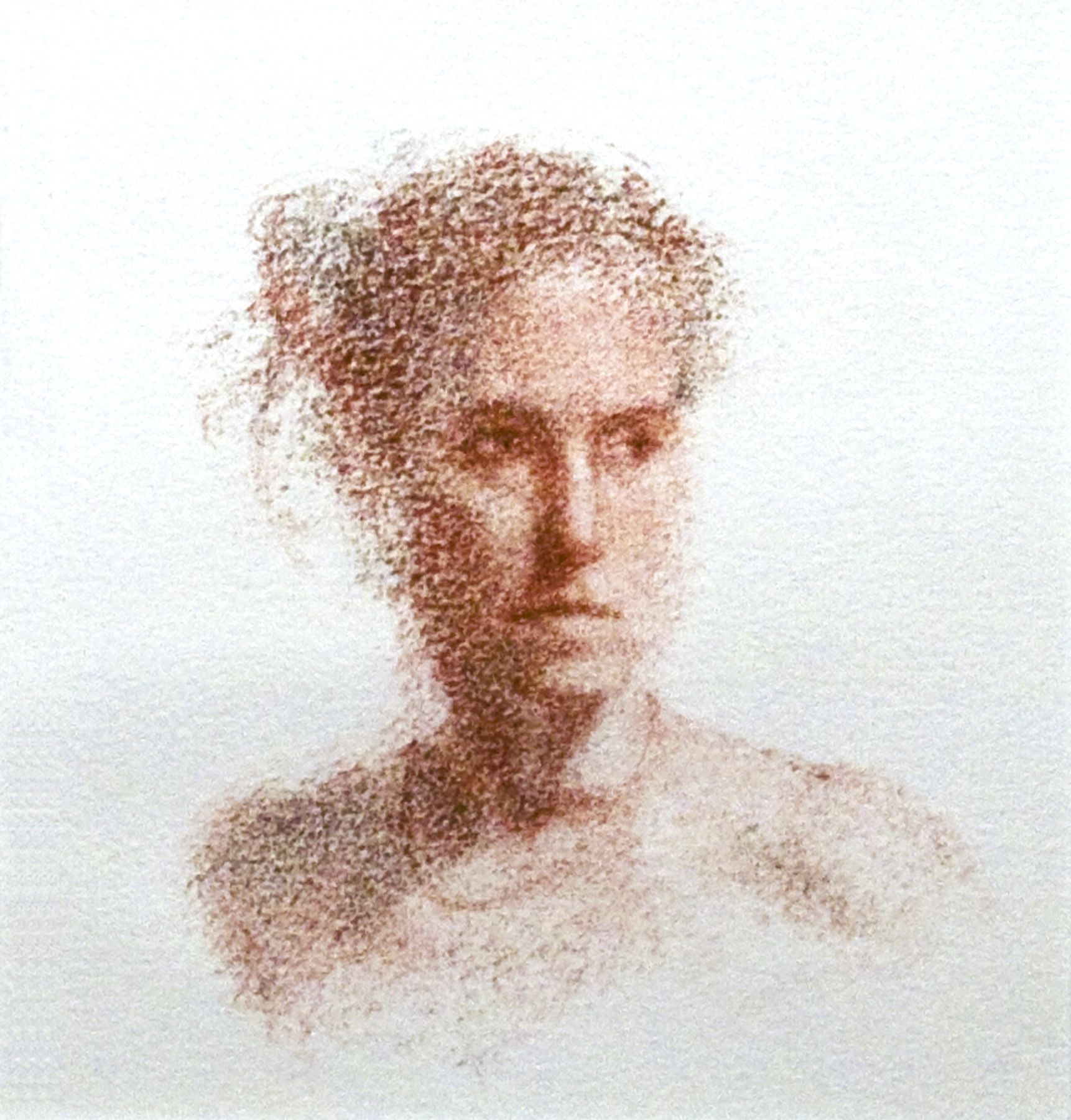 Lisa Bartolozzi, Strong Woman with Necklace, 2009, Conte and charcoal on paper, 6 x 5 3/8 inches