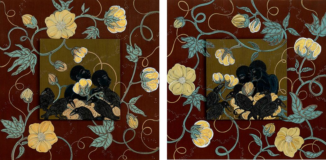 stephanie wilde,The Fields of Worth (diptych), 2015, ink, acrylic and gold leaf on museum board, 10 x 10 inches each