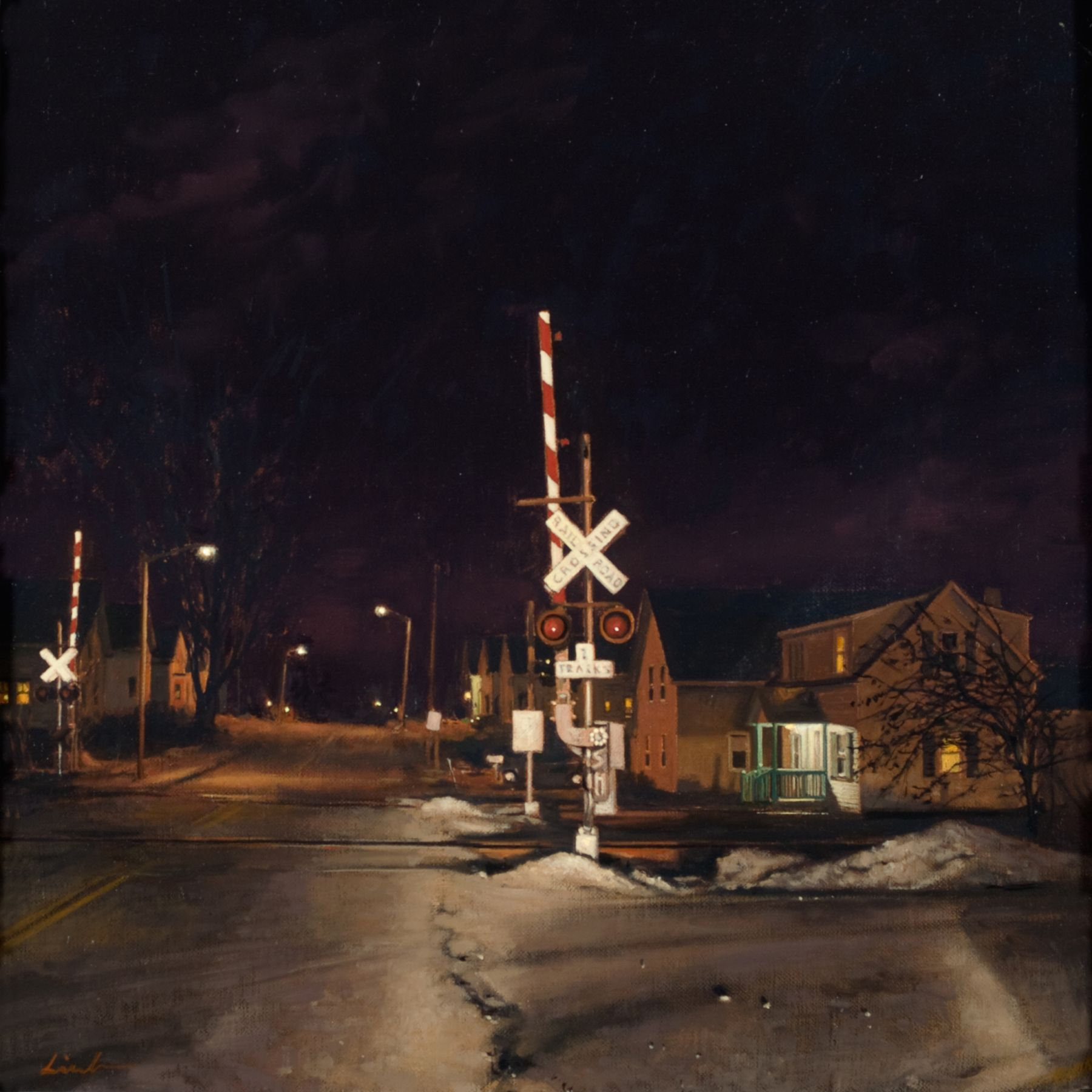 Linden Frederick, Crossing (SOLD), 2008, oil on panel, 12 1/4 x 12 1/4 inches