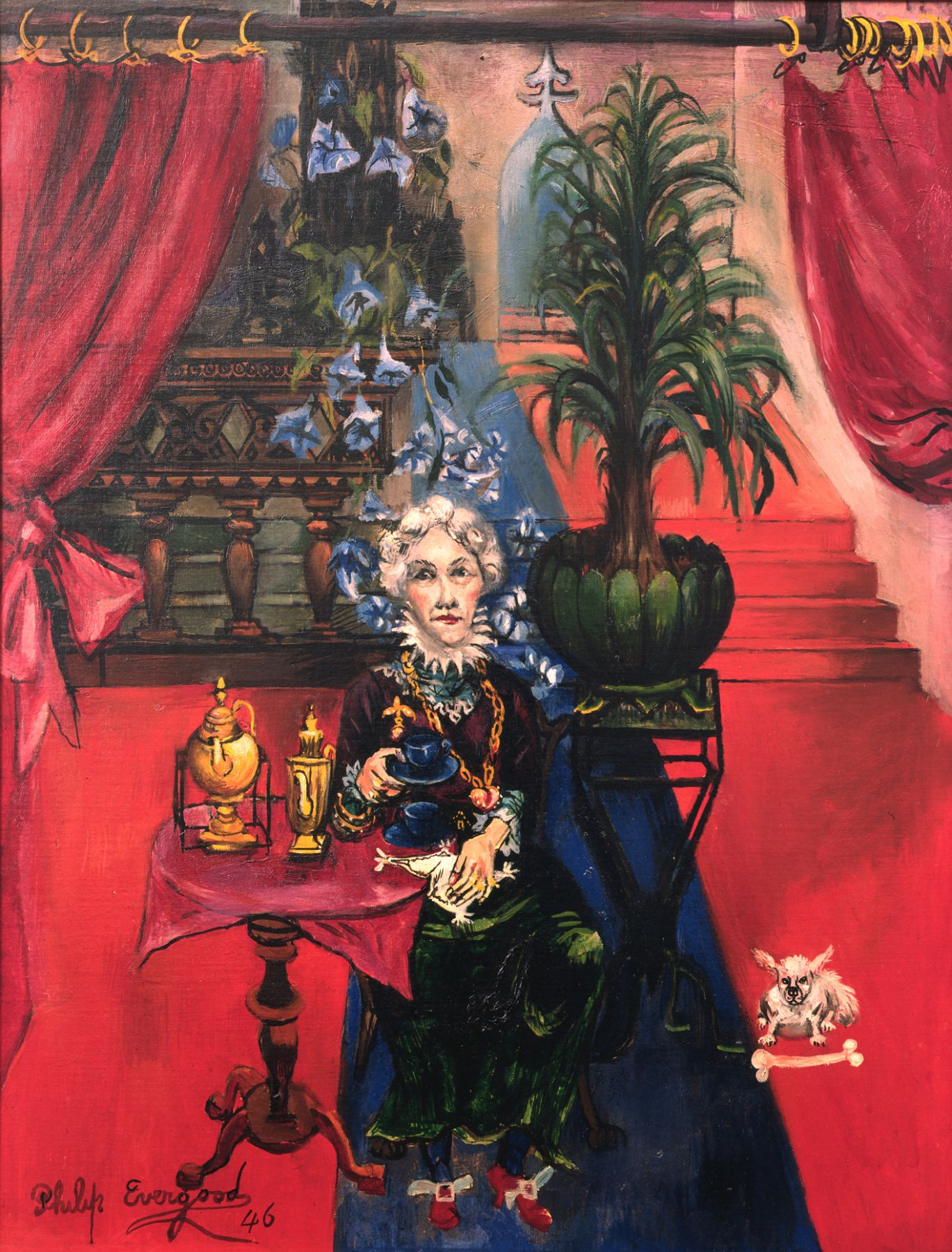 philip evergood, A Cup of Tea, 1946, oil on canvas, 33 x 25 1/2 inches