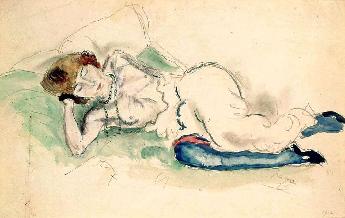 Jules Pascin, Hermine au Collier, 1912, watercolor over pencil on paper, 7 1/8 x 11 3/8 inches
