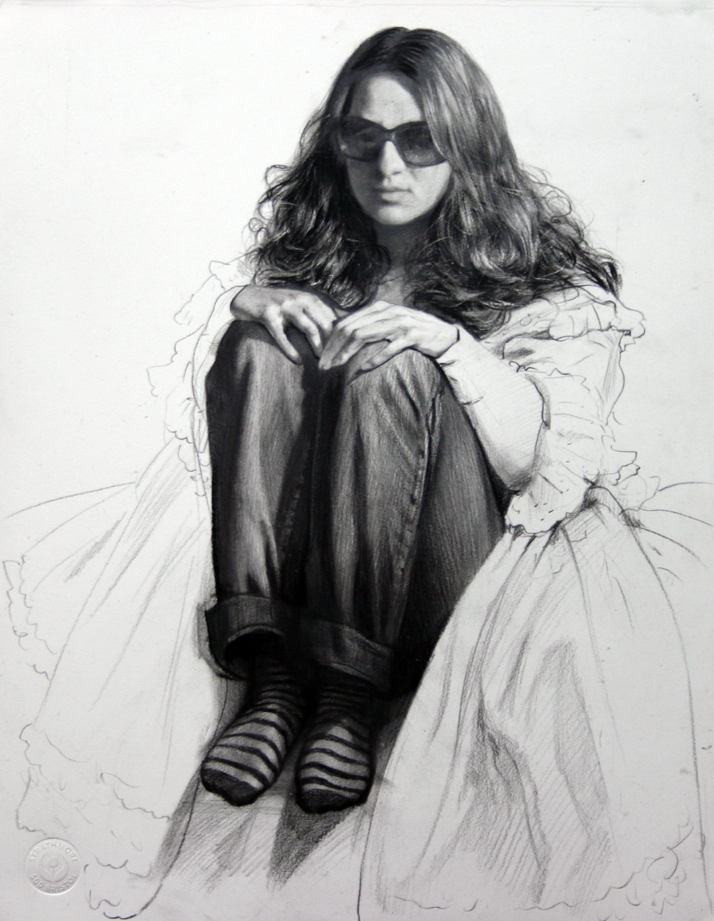 Steven Assael, Girl with Sunglasses (SOLD), 2008, crayon and graphite on paper, 14 1/8 x 11 inches