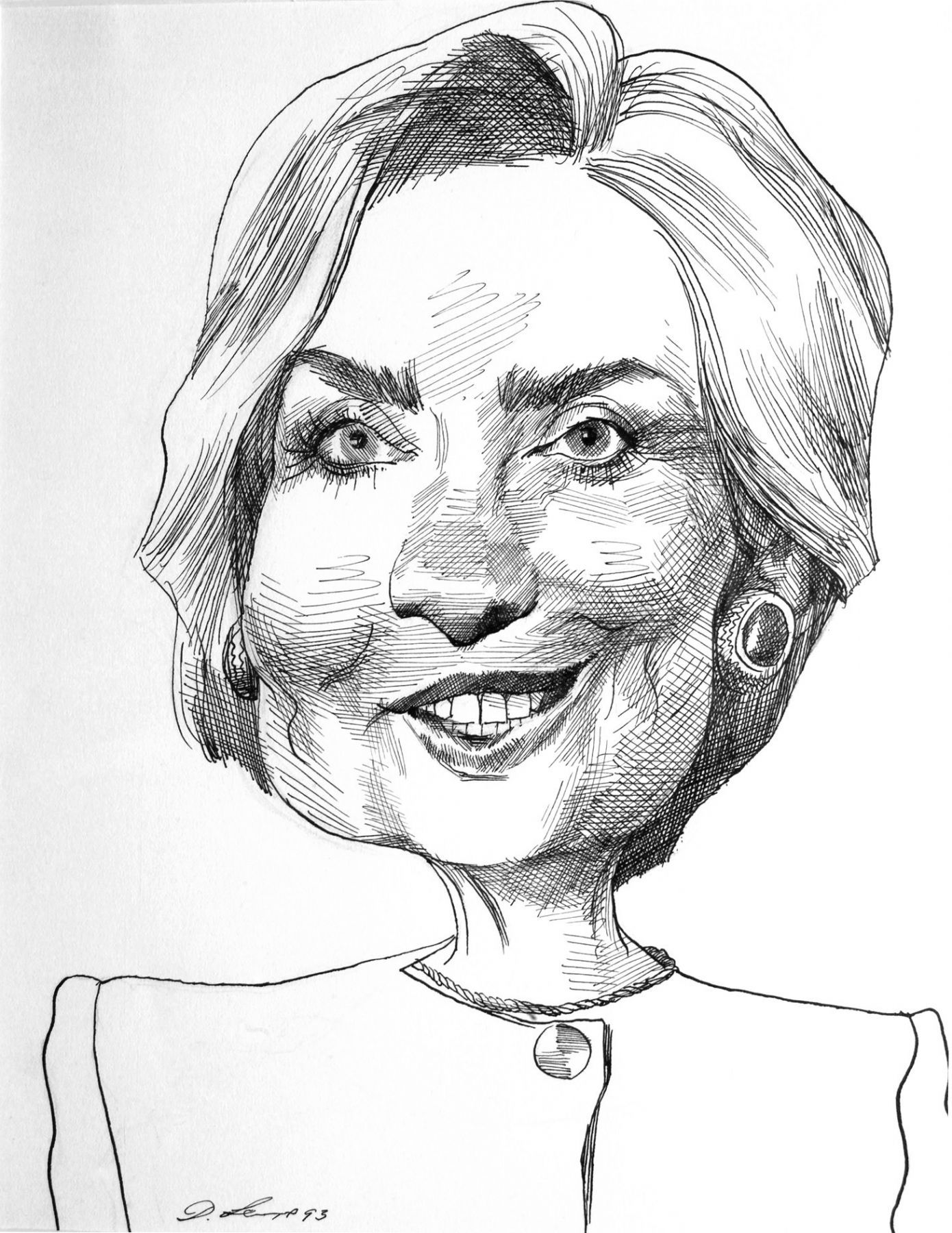 David Levine, Hillary Clinton (SOLD), 1993, ink on paper, 13 3/4 x 11 inches