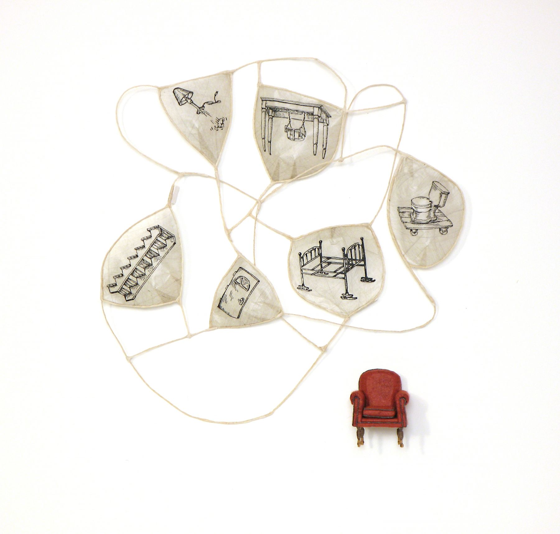 Cybèle Young, Add it to My List (SOLD), 2008, Japanese paper construction with copperplate etching, 17 x 16 1/4 x 2 1/4 inches