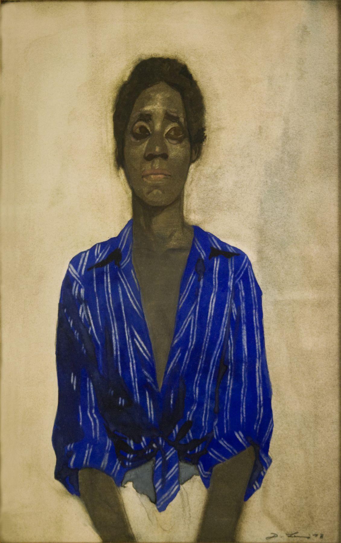 David Levine, Black and Blue, 1978, watercolor, 14 1/2 x 9 1/4 inches