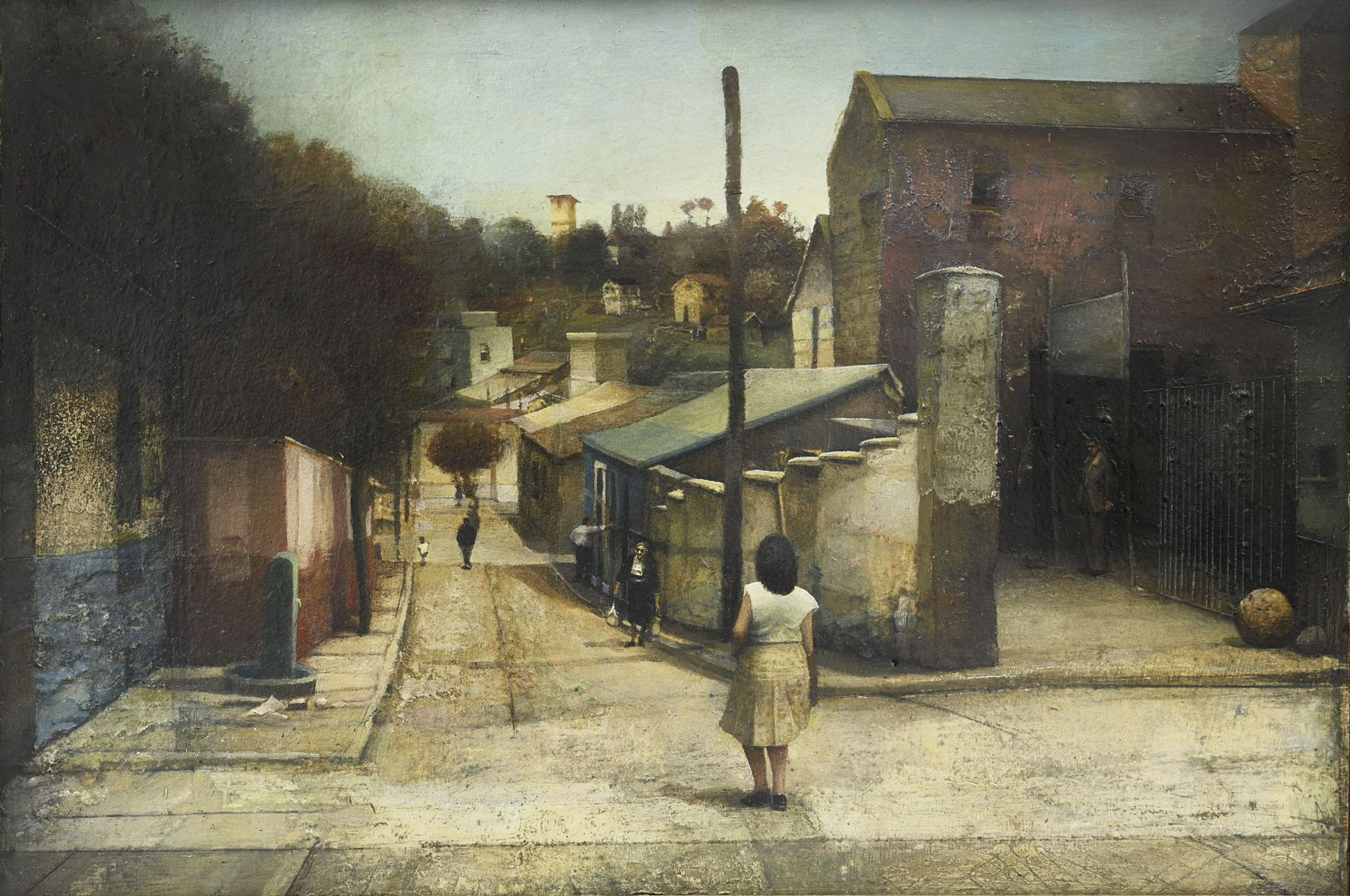 gregory gillespie, Street in Spain, 1964 oil and mixed media on wood 7 1/4 x 10 3/4 inches