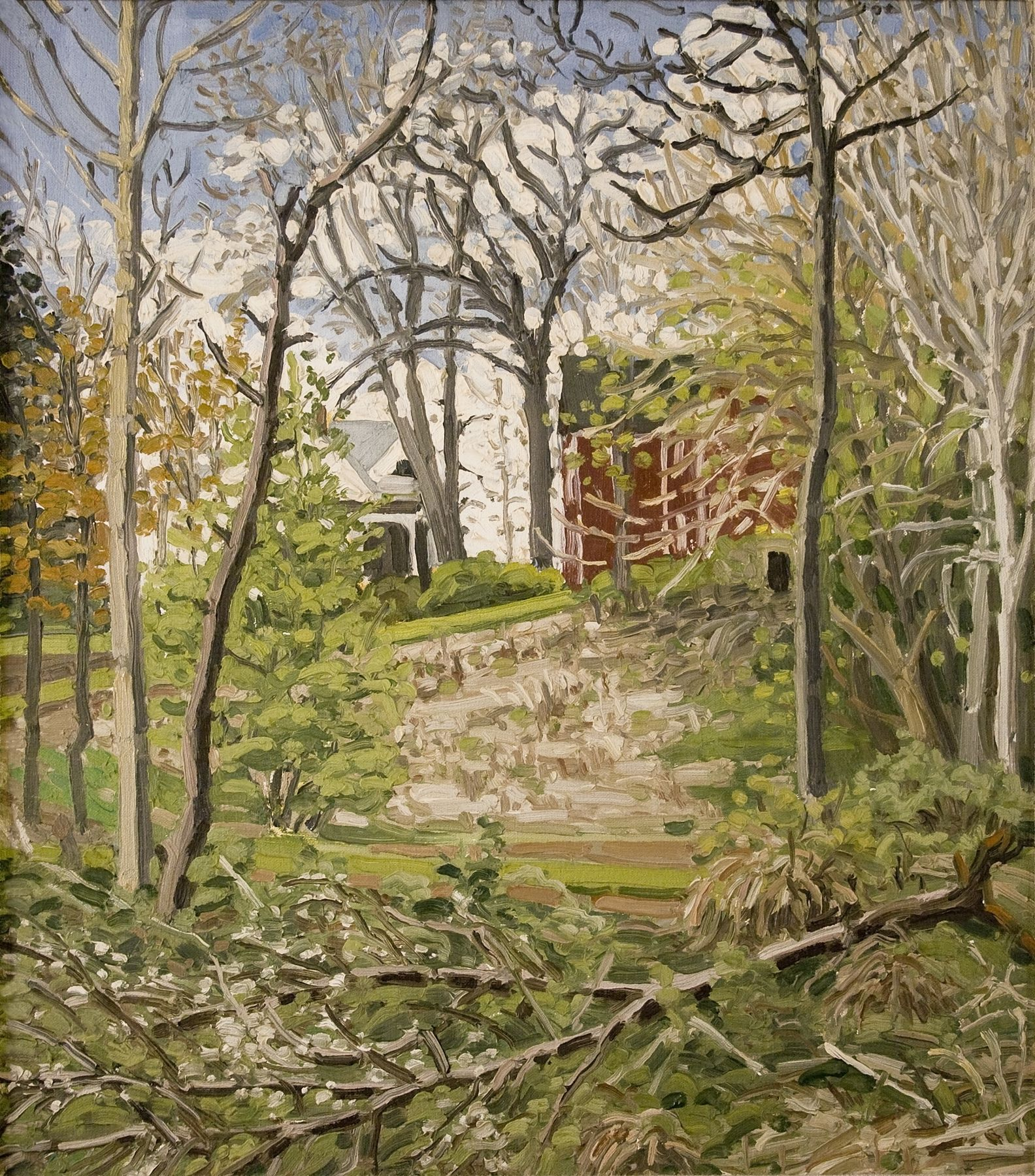 Rackstraw Downes, Nyack, 1972, oil on canvas, 18 x 16 inches