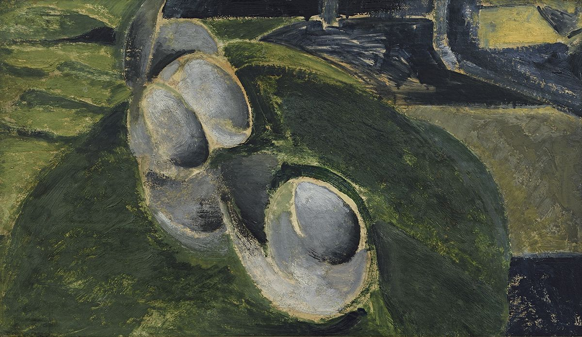 alfred maurer, Abstract Still Life with Cups, c. 1919, oil on gesso board, 11 3/4 x 20 inches