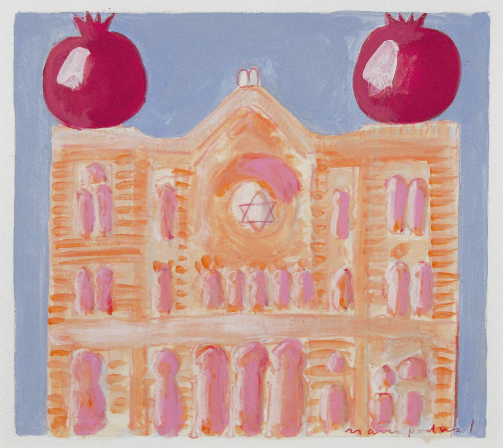 Mark Podwal, Jerusalem Synagogue in Prague, 2001, acrylic, gouache and colored pencil on paper, 7 x 8 inches