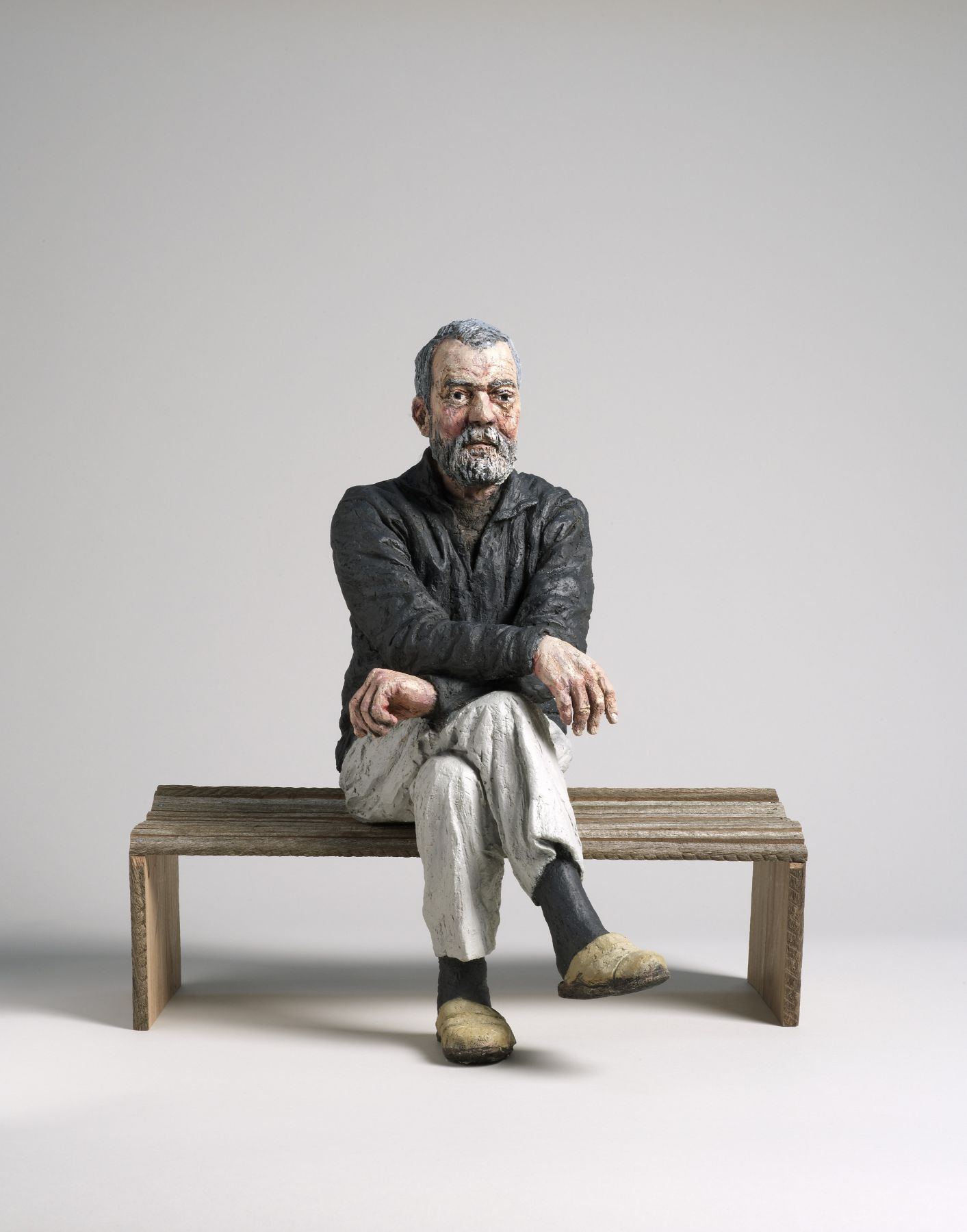 sean henry, Maquette for John (Seated) [SOLD], 2012, bronze, oil paint, wood, 17 x 15 x 12 inches, Edition of 9
