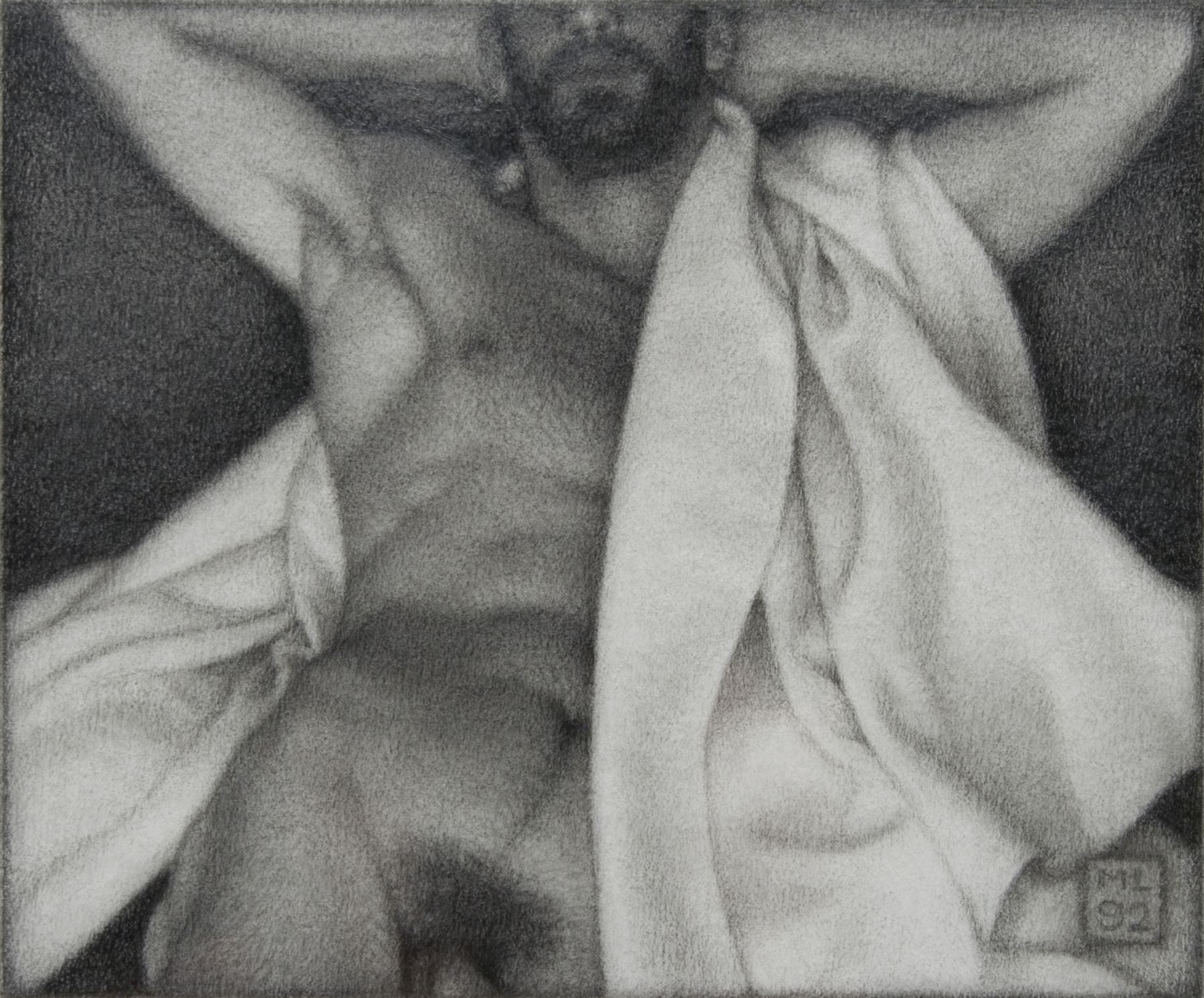 Michael Leonard, Relaxing Bather, 1992, graphite pencil on paper, 7 x 8 1/2 inches