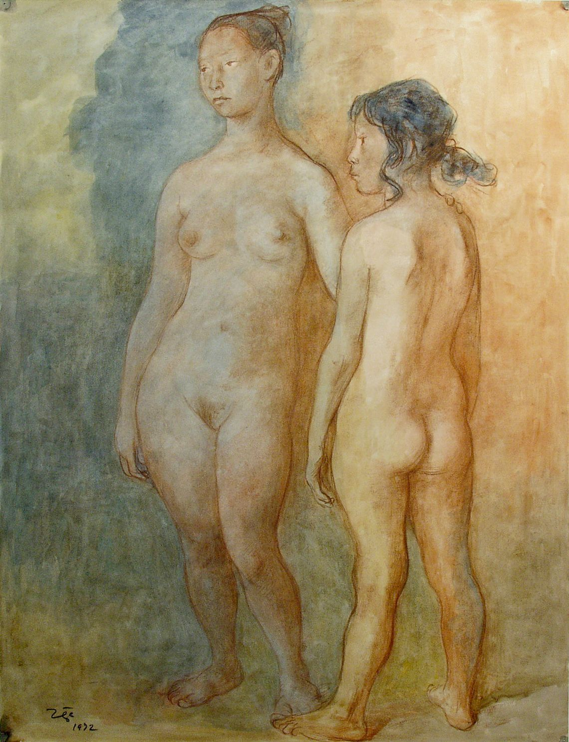 Francisco Zuñiga, Two Women, 1972, pastel and watercolor on paper, 25 3/4 x 19 3/4 inches