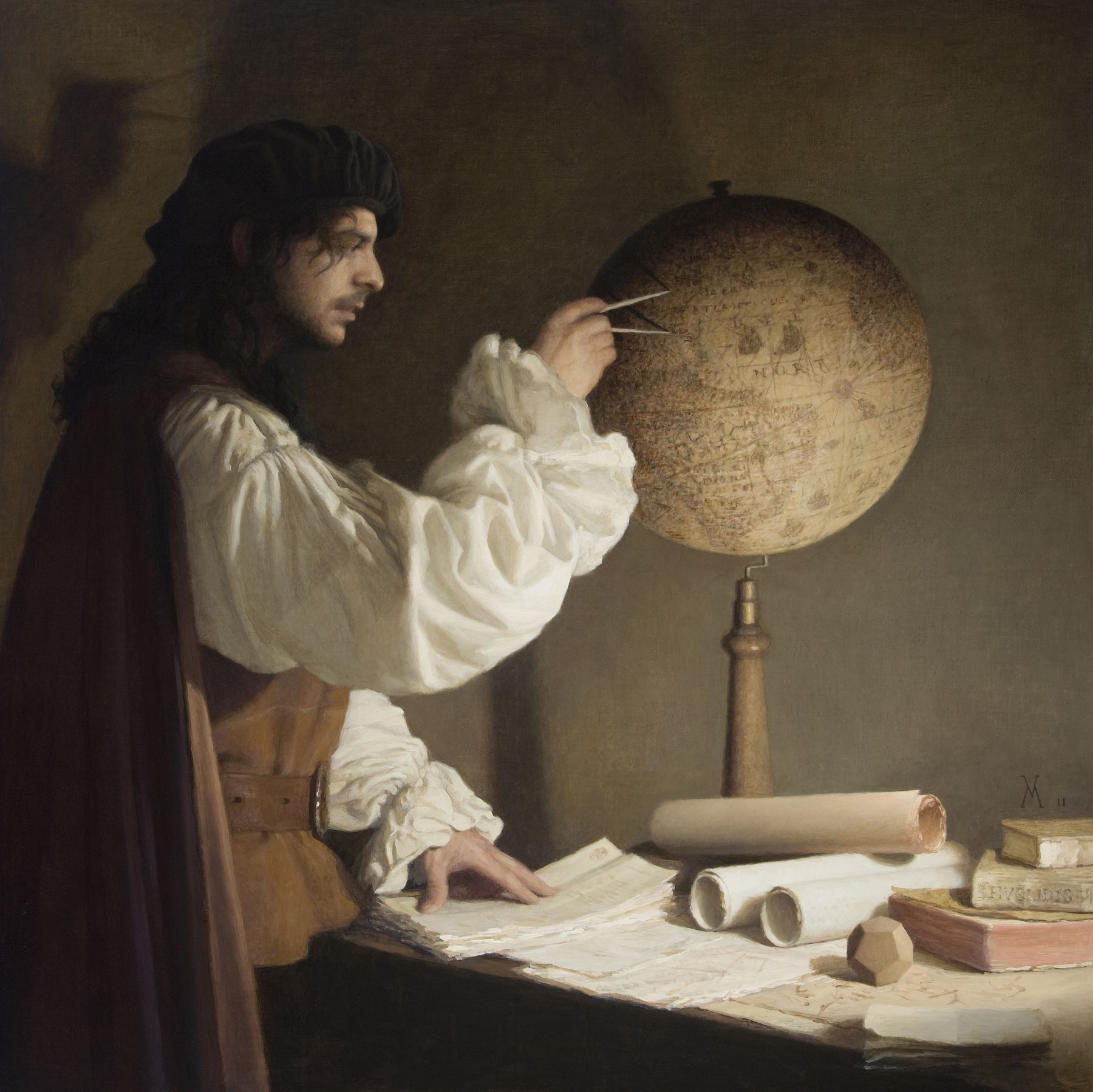 guillermo munoz vera, The Geometer (SOLD), 2011, oil on canvas on panel, 39 3/8 x 39 3/8 inches