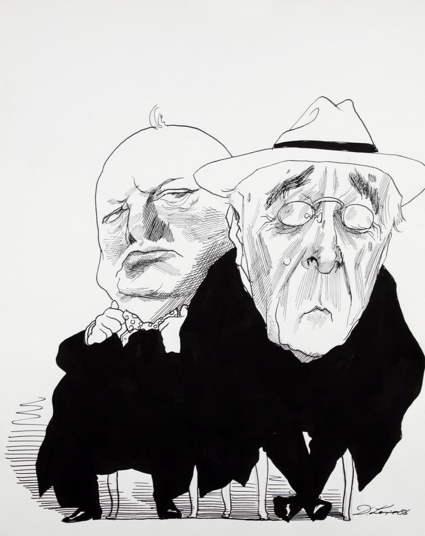 David Levine, FDR & Churchill, 1986, ink on paper, 13 1/2 x 11 inches