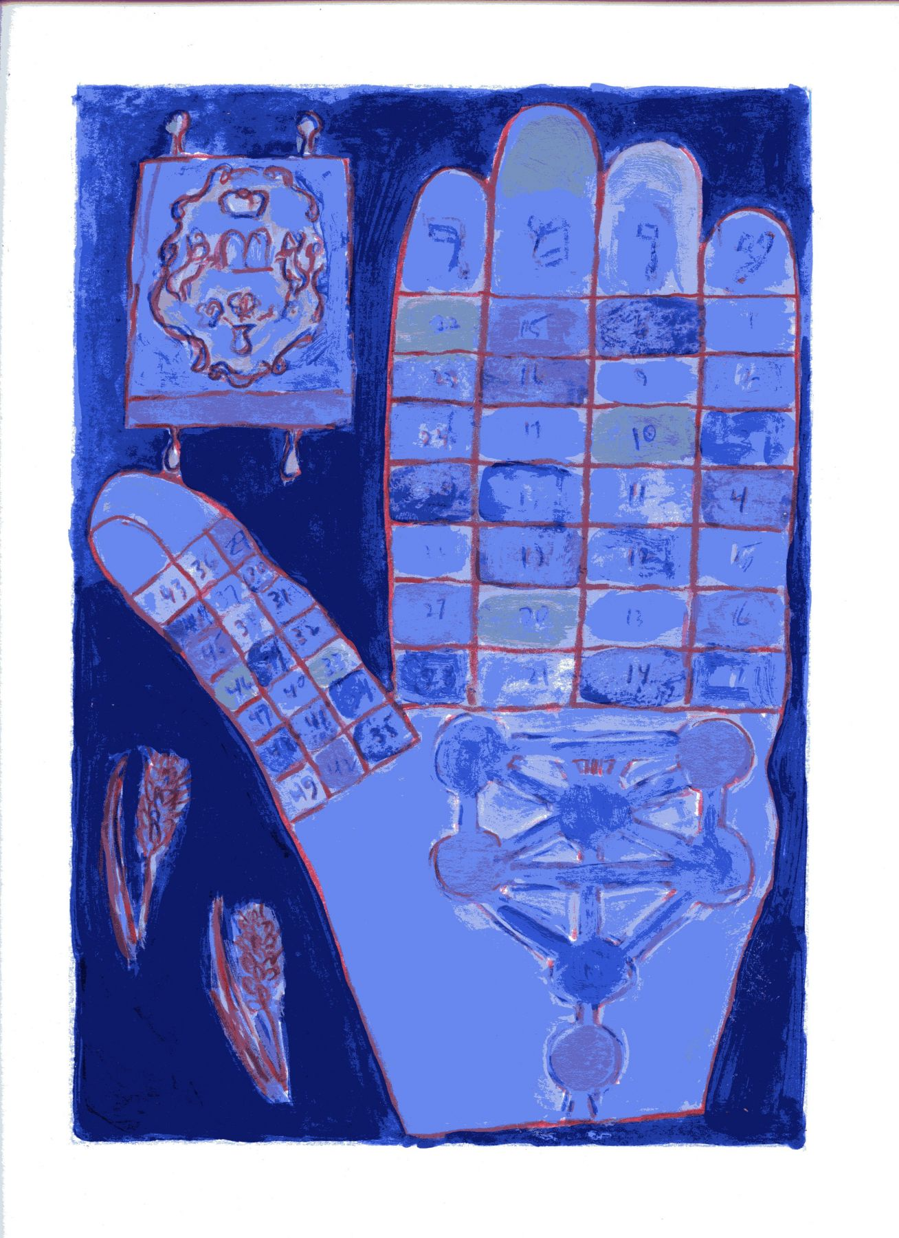 mark podwal, Omer Calendar Hamsa (SOLD), 2011, acrylic, gouache and colored pencil on paper, 16 x 12 inches