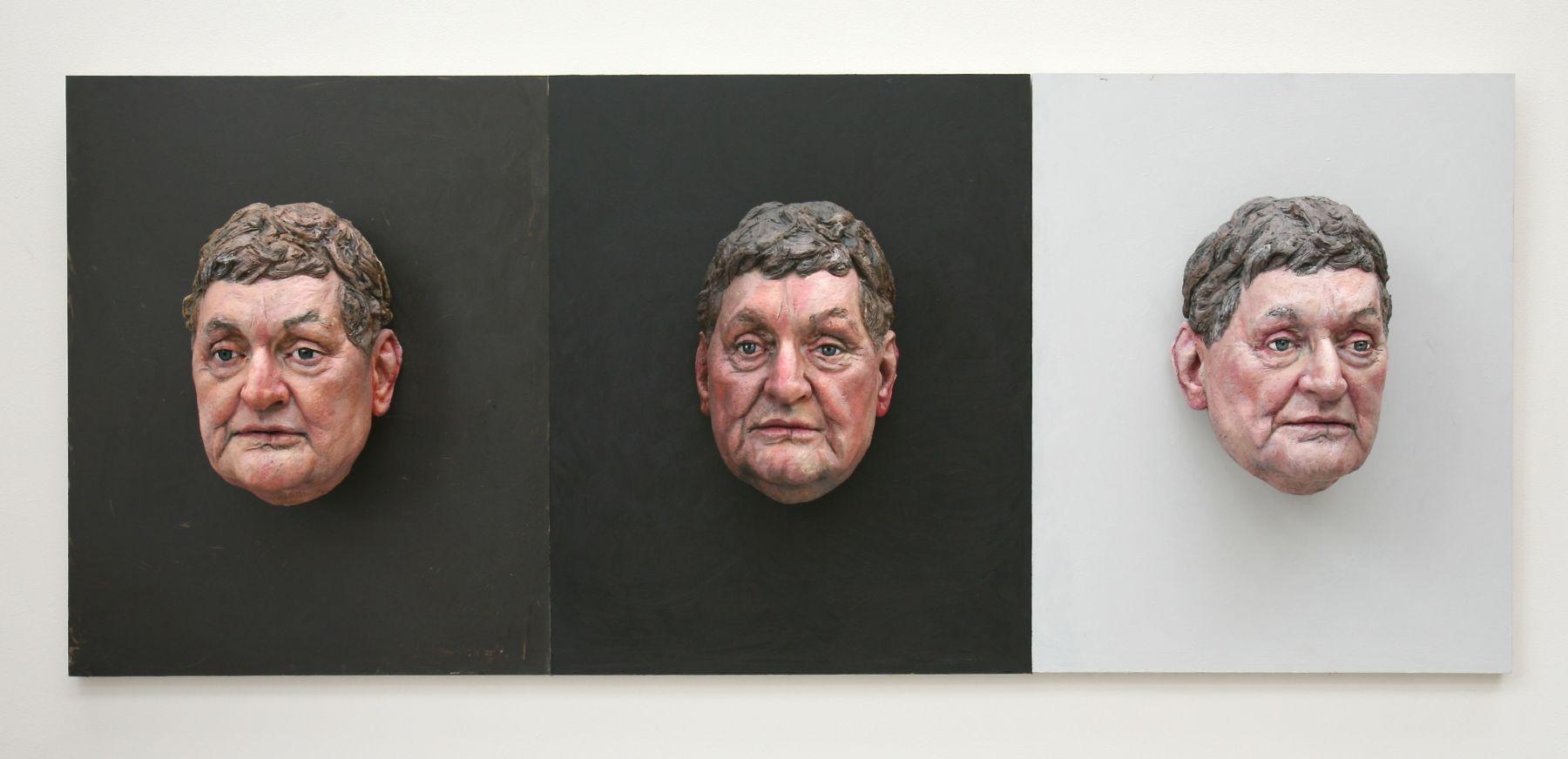 Sean Henry, Papillon, 2008, ceramic, oil paint, wood, 69 x 27 1/2 x 10 inches, Unique