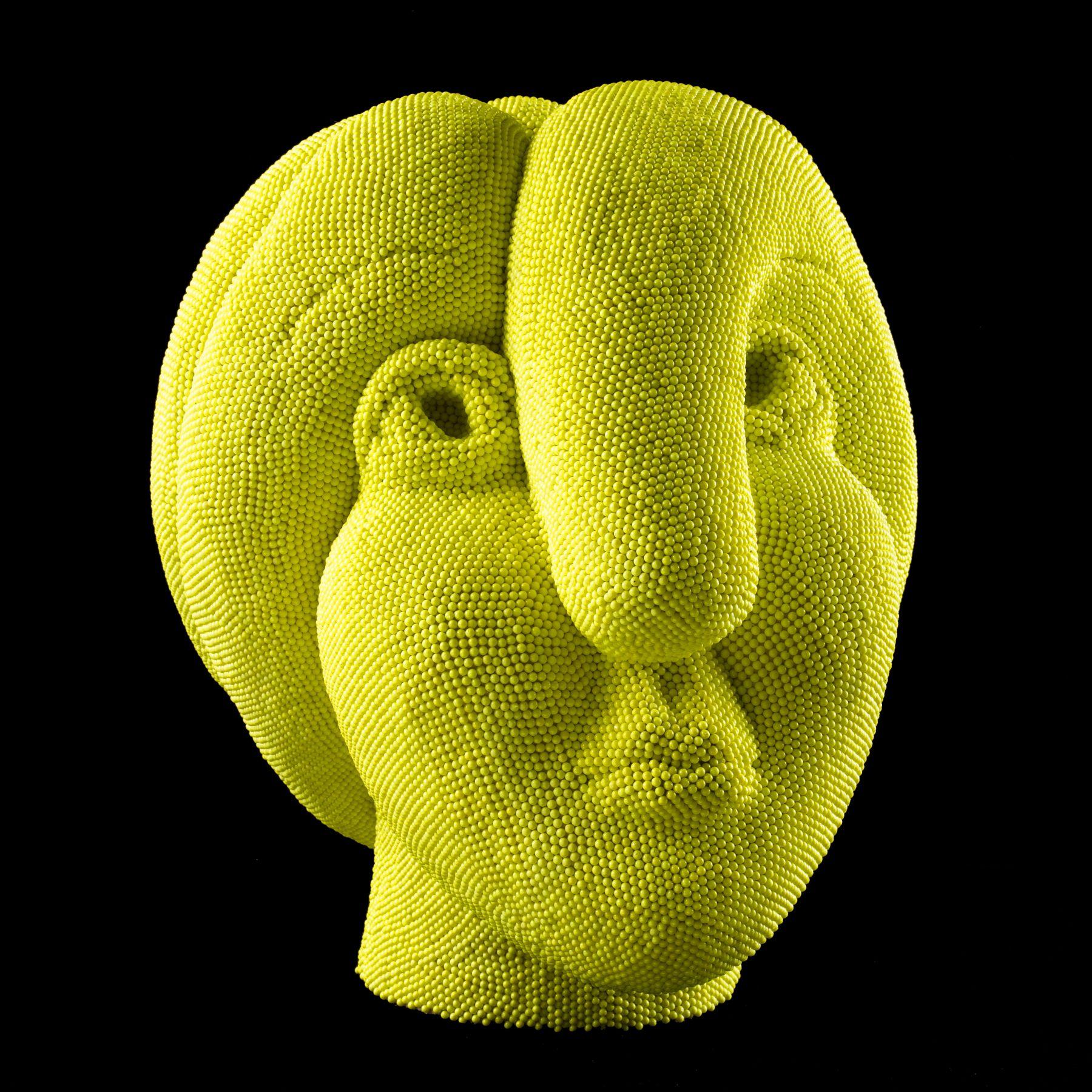 david mach, Yellow Pearl, 2012, yellow plastic pins on foam, 16 1/2 x 14 1/2 x 14 1/2 inches