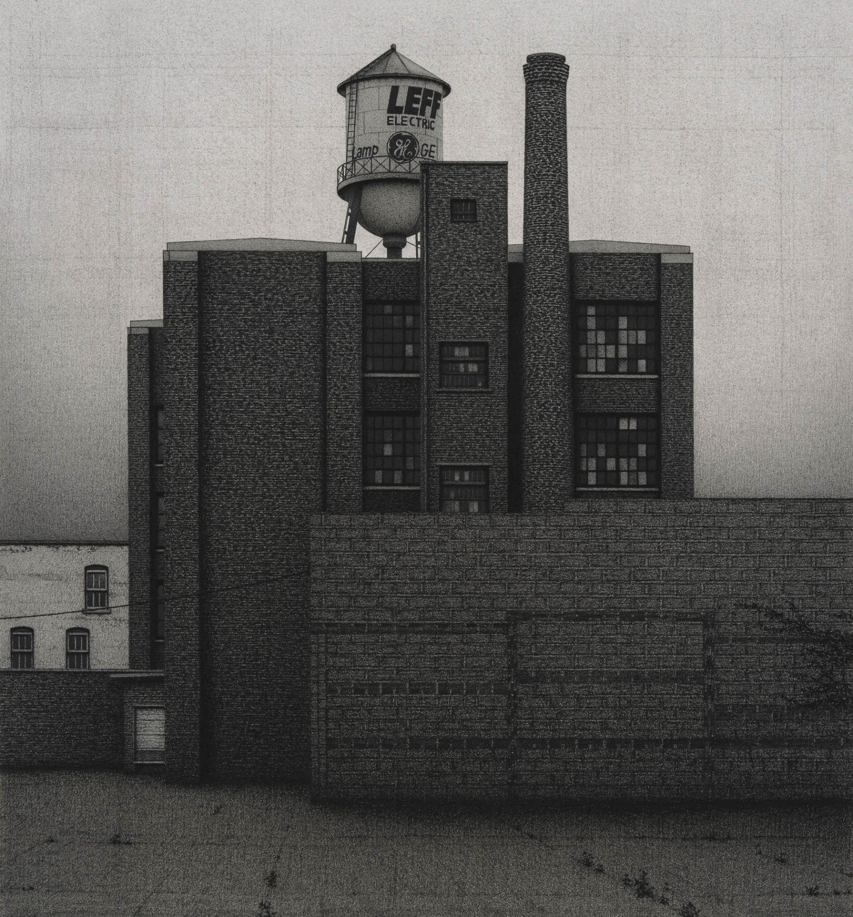 anthony mitri, Leff Electric Company, Cleveland, Ohio, 2012, charcoal on paper, 18 5/8 x 17 1/4 inches