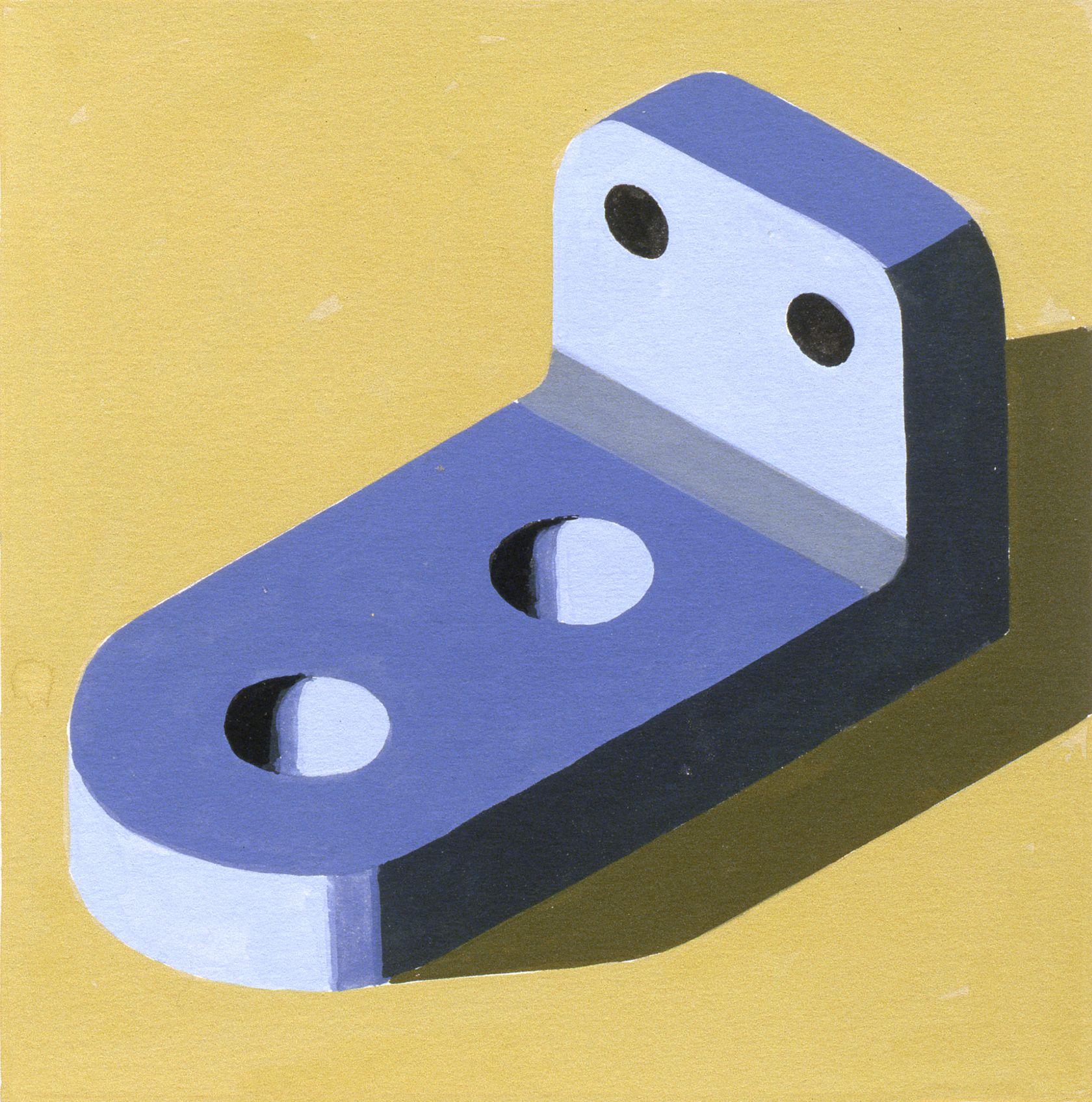 Robert Cottingham, Component XLII, 2005, gouache on paper, 5 1/2 x 5 1/2 inches