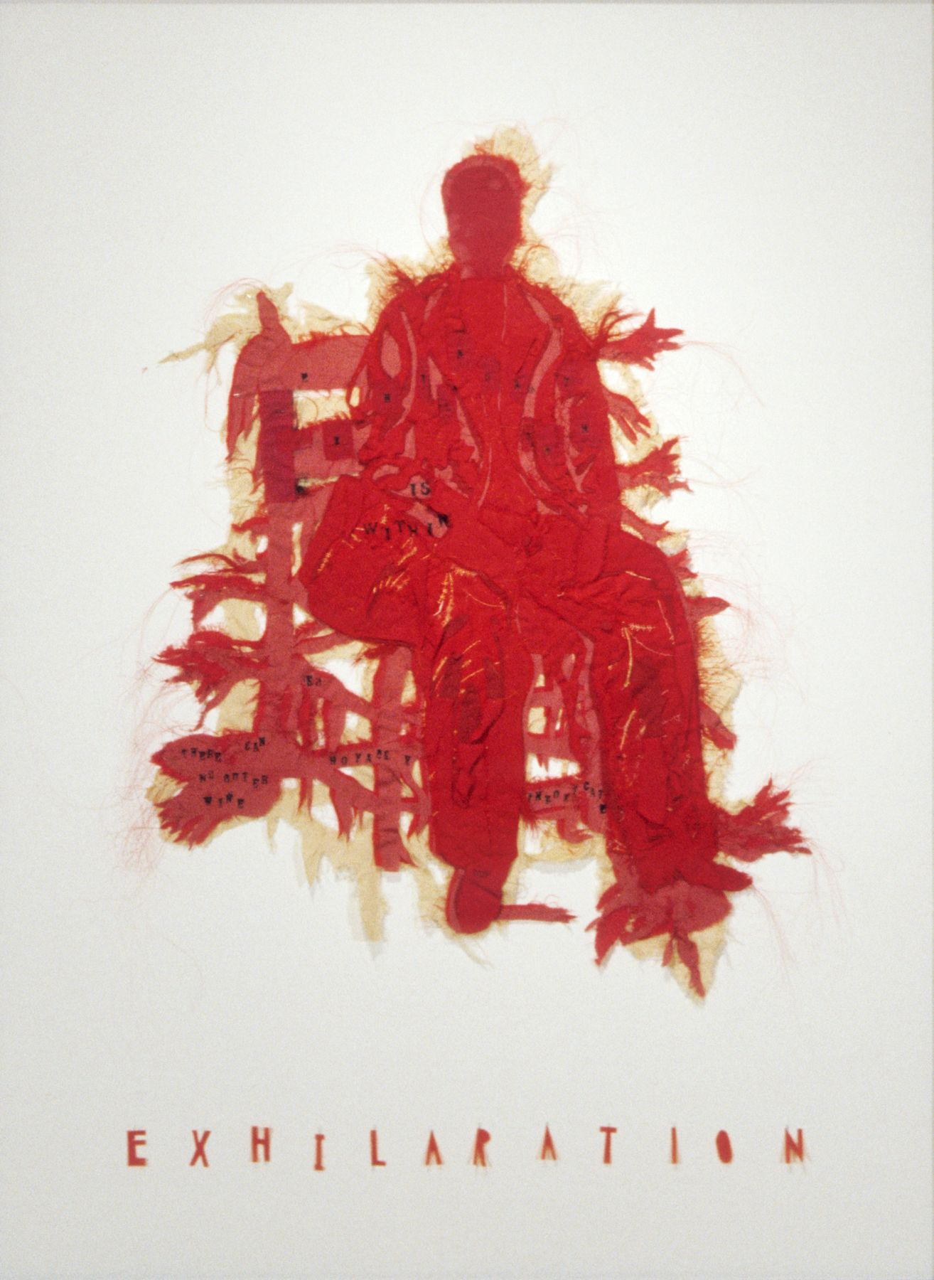Lesley Dill, Homage to Frida Kahlo (Red Frida), 2004, ink on paper, cotton, silk, polyester, fabric, horsehair, thread, 42 x 30 inches