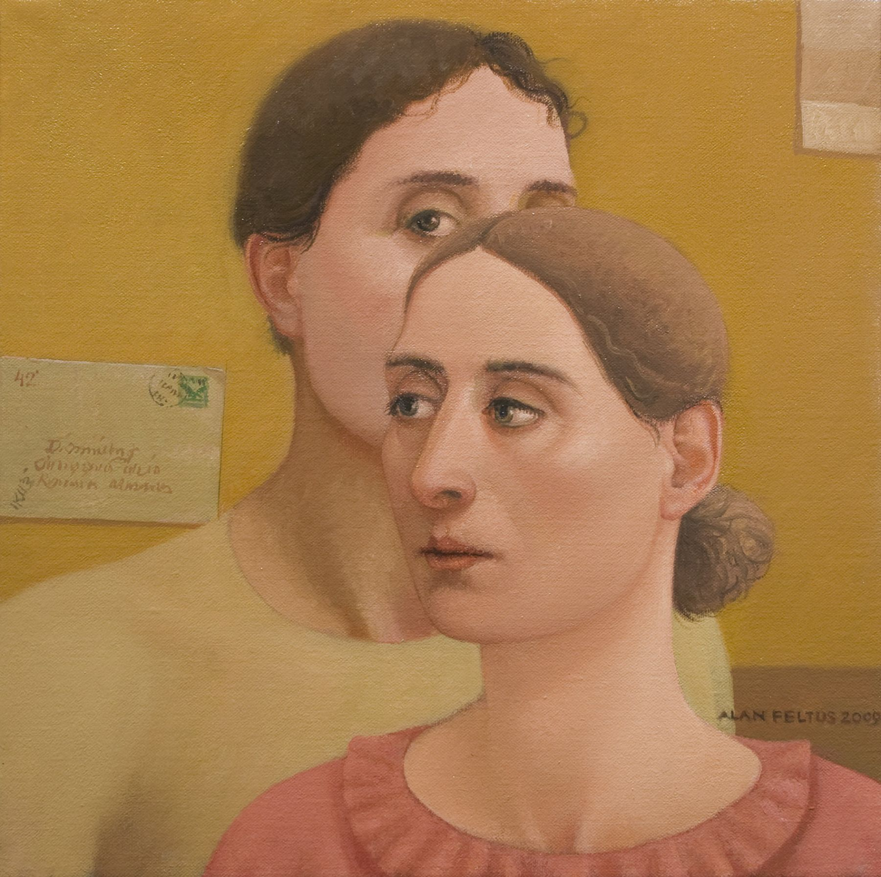 alan feltus, Doppio Ritratto, 2009, oil on canvas, 13 3/4 x 13 3/4 inches