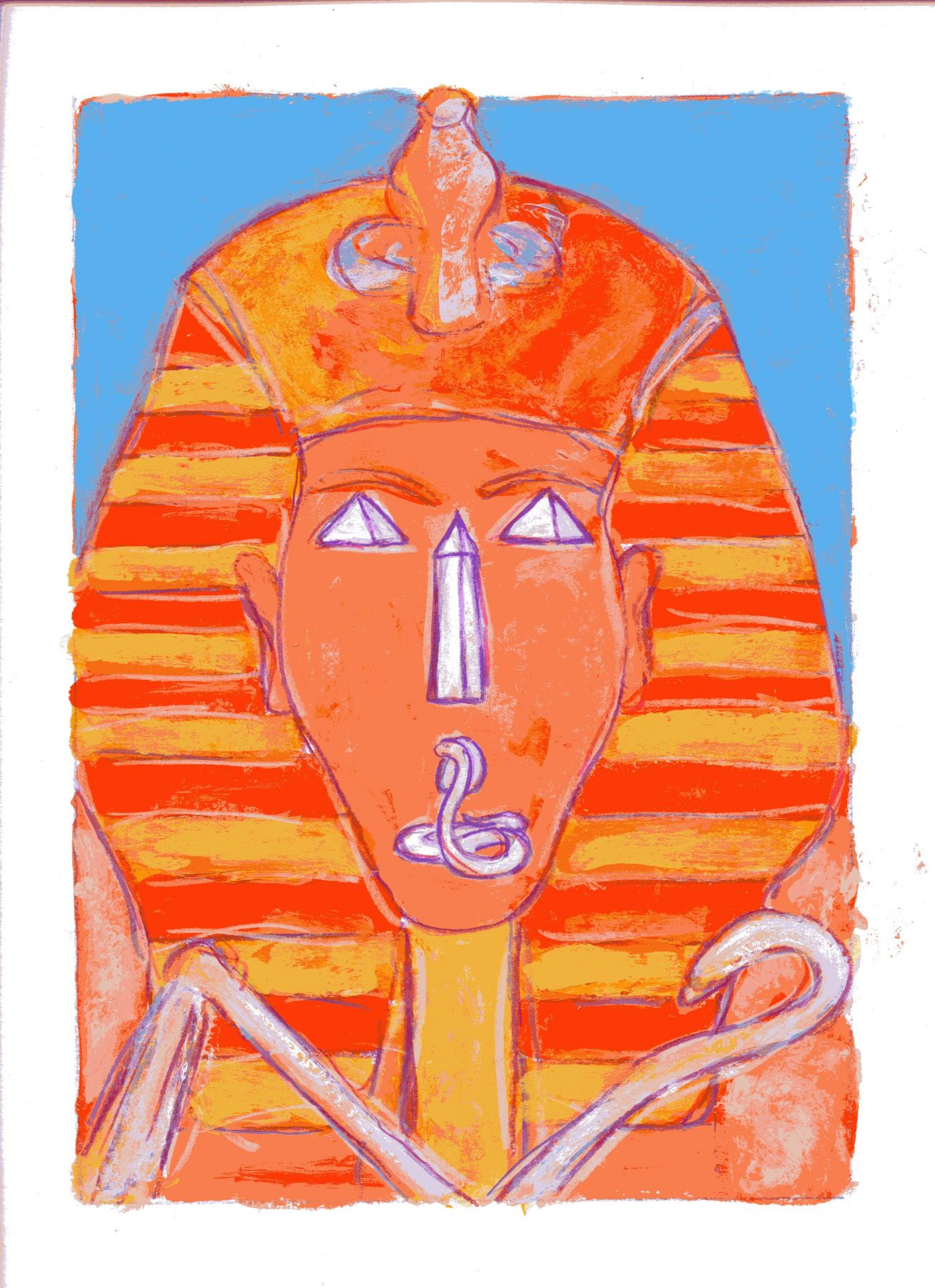 mark podwal, Pharoah who knew not Joseph, 2011, acrylic, gouache and colored pencil on paper, 16 x 12 inches