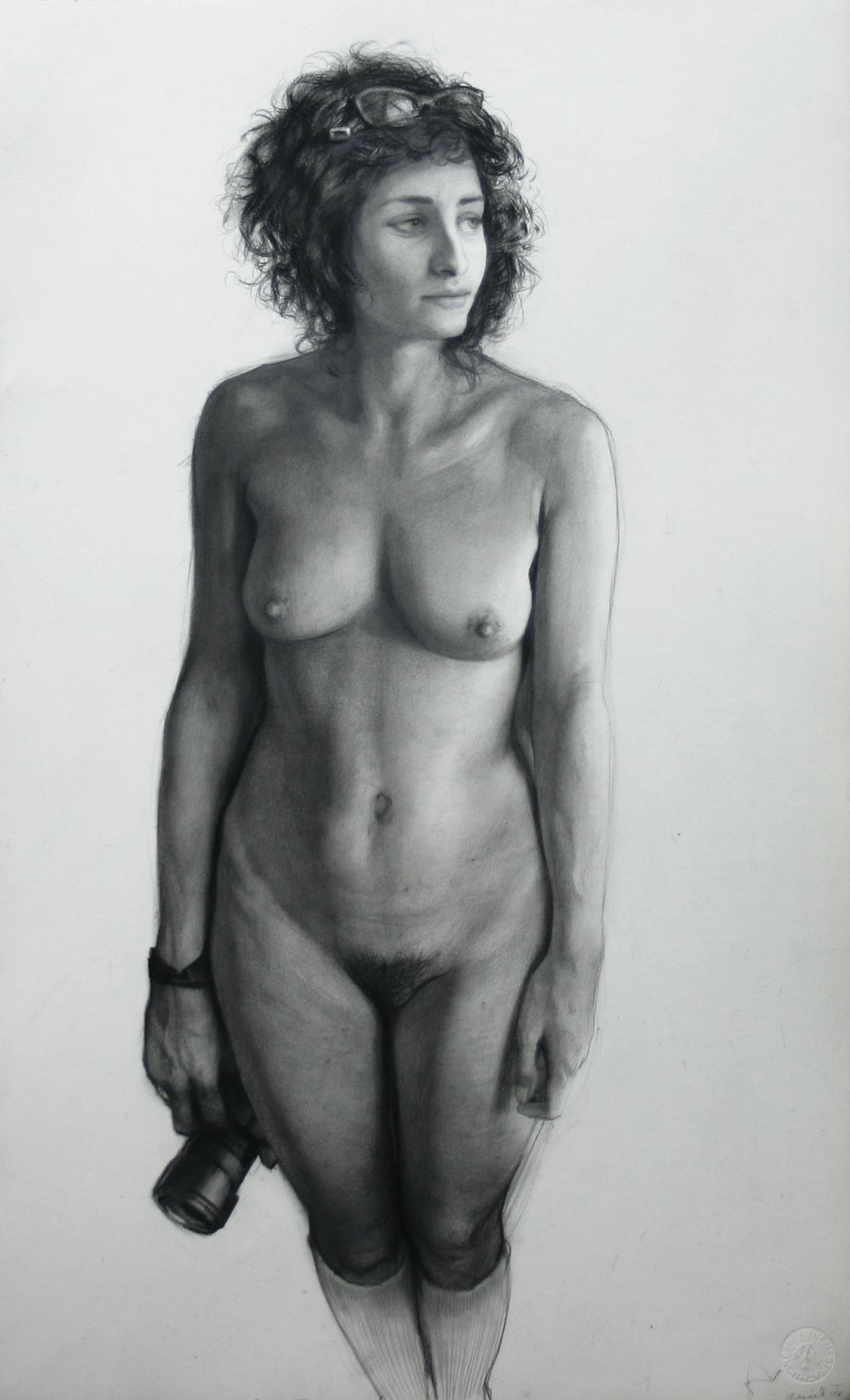 Steven Assael, Jordana with Camera, 2008, graphite and crayon on paper, 21 1/4 x 13 3/8 inches
