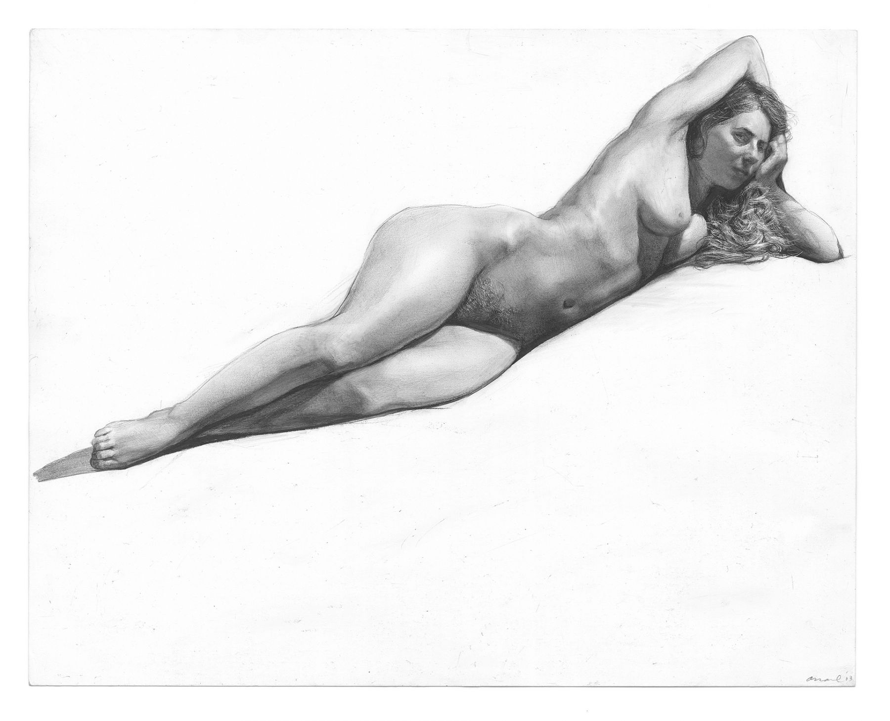 Steven Assael, Reclining Figure Resting on Arm, 2013, graphite on paper, 11 x 14 inches