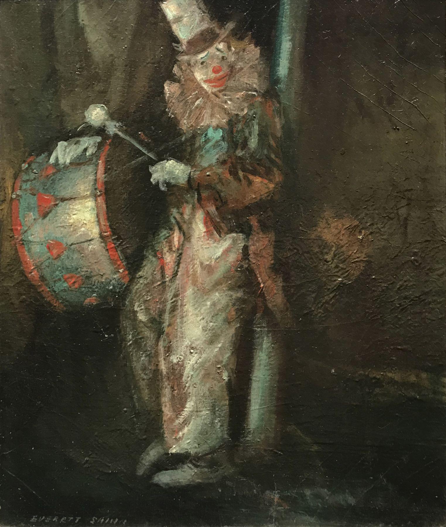 Everett Shinn, Clown with Drum, c. 1940, oil on board, 11 3/4 x 10 3/4 inches