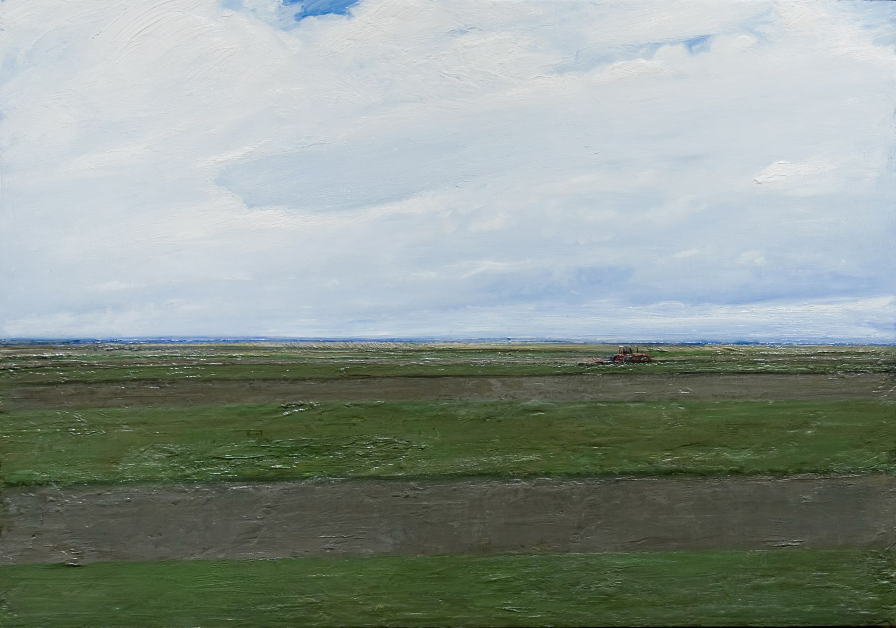 william beckman, Strip Plowing, 2009, oil on panel, 18 3/8 x 26 1/4 inches