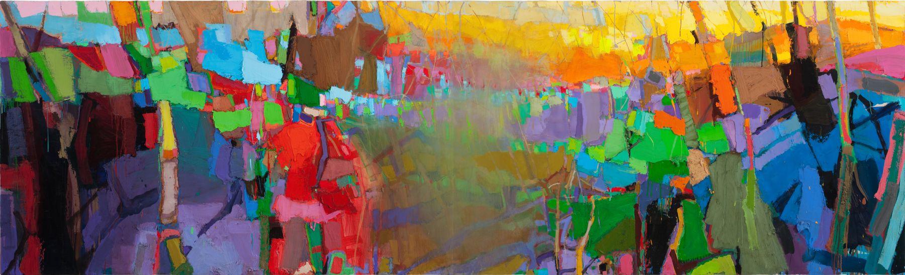 Brian Rutenberg French Landscape (SOLD), 2010, oil on linen, 48 x 158 inches