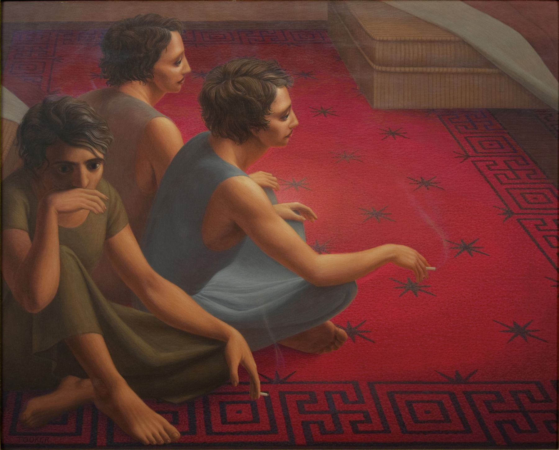 George Tooker, The Red Carpet, 1953, egg tempera on gessoed panel, 16 x 20 1/4 inches