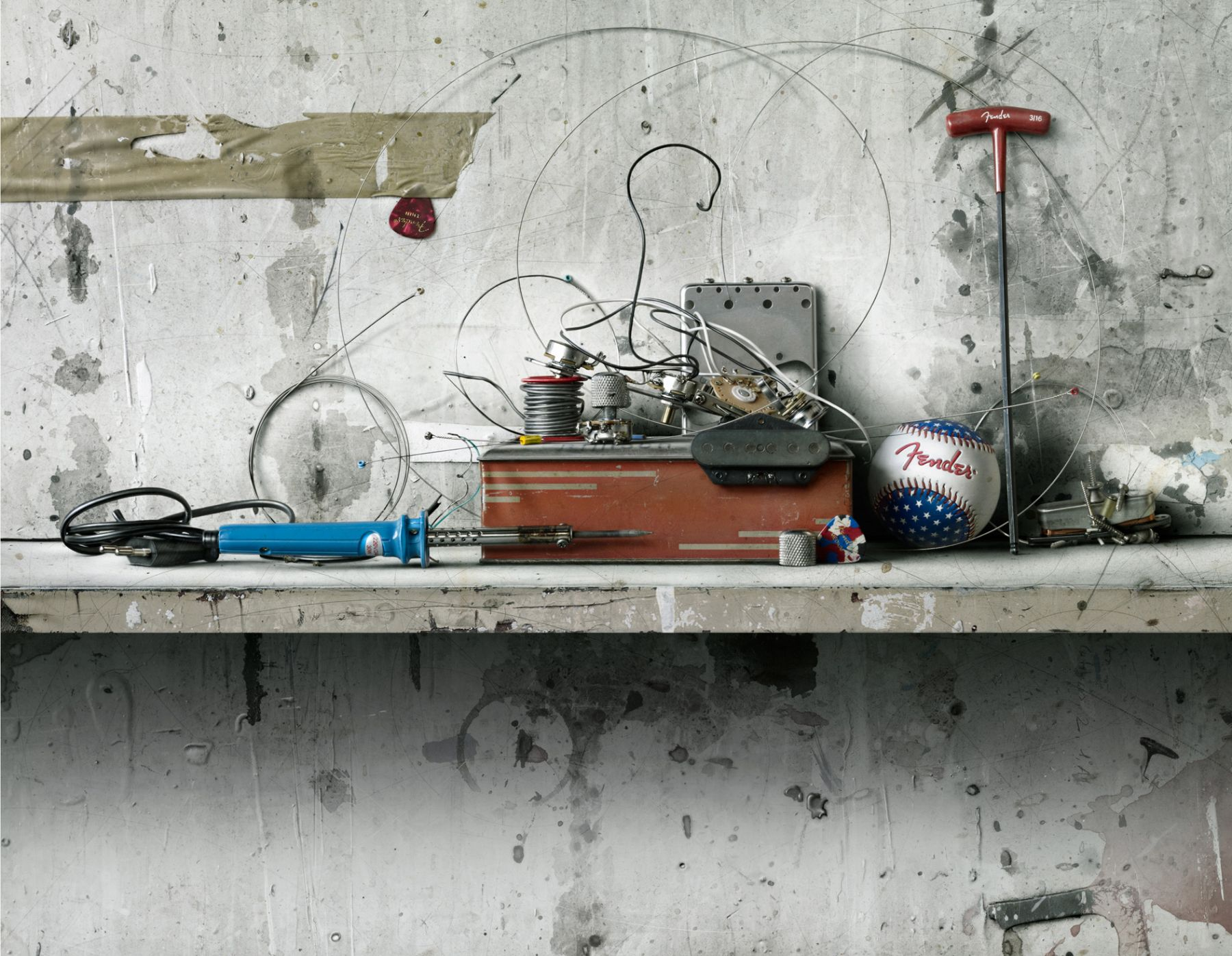 cesar galicia, Still Life with Guitar, 2012, mixed media on board, 27 1/2 x 21 1/4 inches