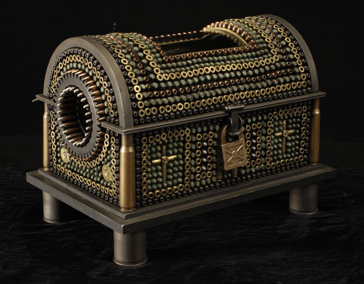 Al Farrow, Casket Reliquary III (Foot of Santo Guerro) (SOLD), 2011, bullets, shell casings, steel, wood, glass, bone, lock, antique velvet, 10 3/4 x 14 1/2 x 9 3/4 inches