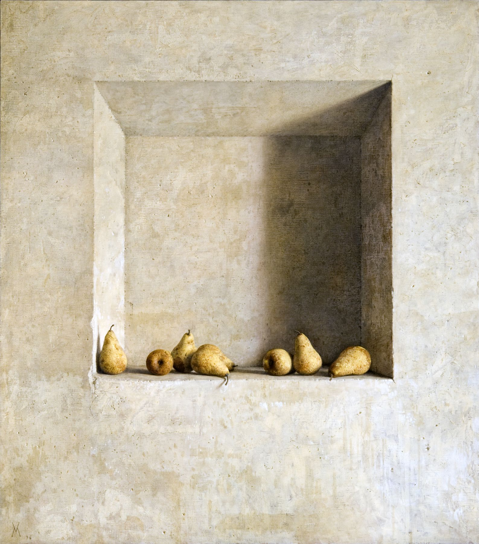 guillermo munoz vera, Peras Amarillas, 1996, oil on canvas mounted on wood, 54 3/8 x 48 inches