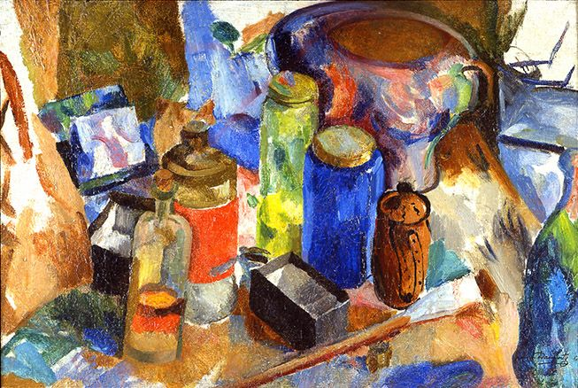 James H. Daugherty, Synchromist Still Life, c. 1916-17, oil on canvas, 19 3/4 x 29 5/8 inches