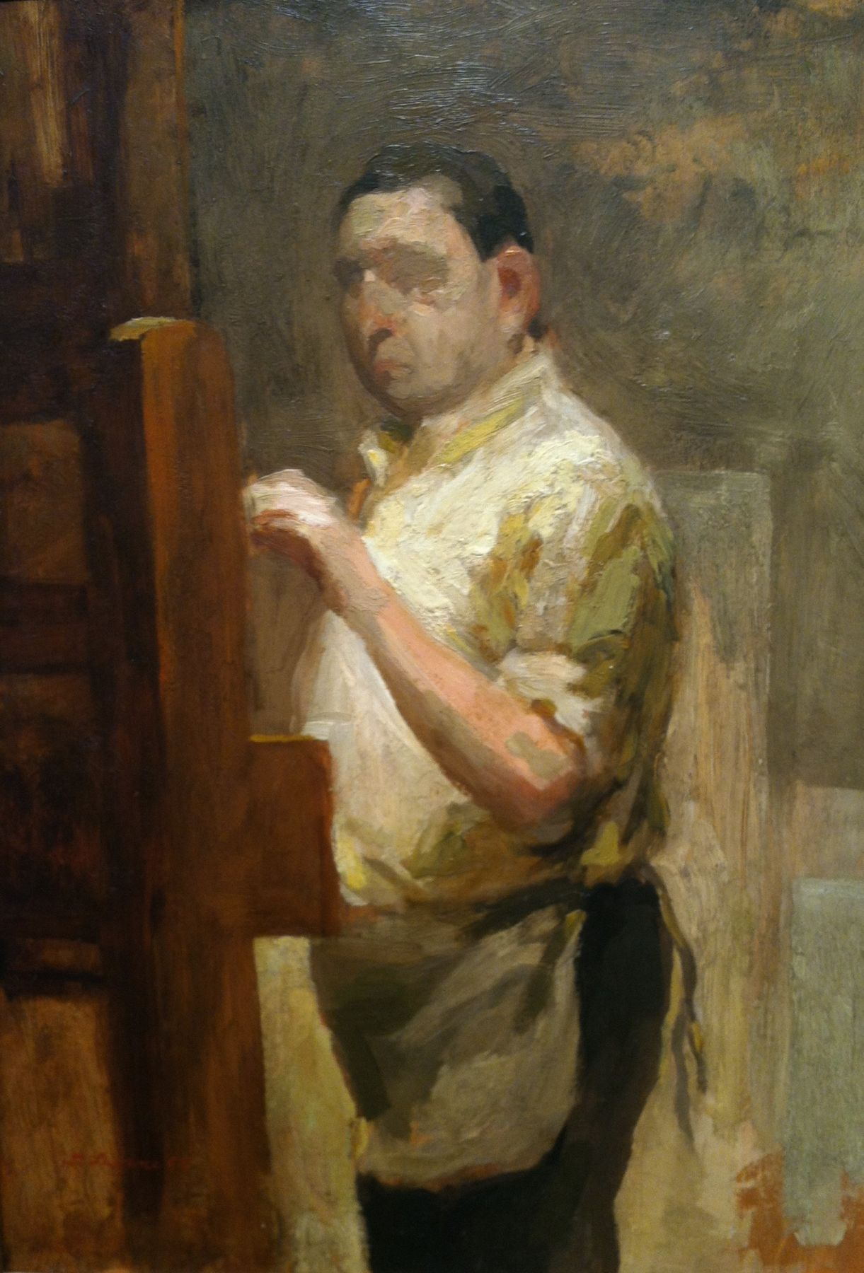David Levine, Self-Portrait, 1969, oil on panel, 12 x 8 inches